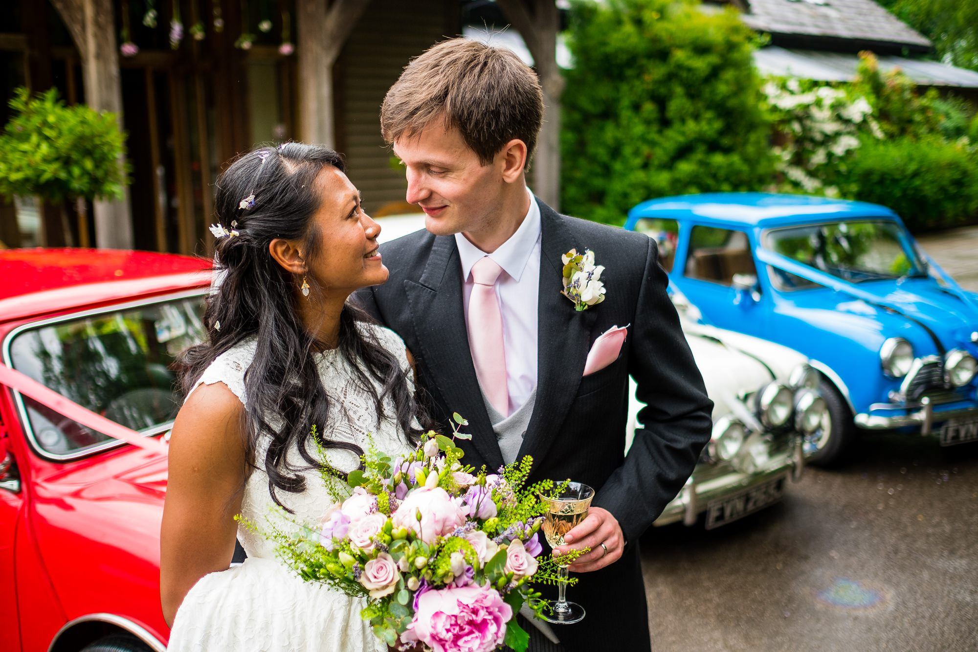 bride and groom outside the oak tree of peover