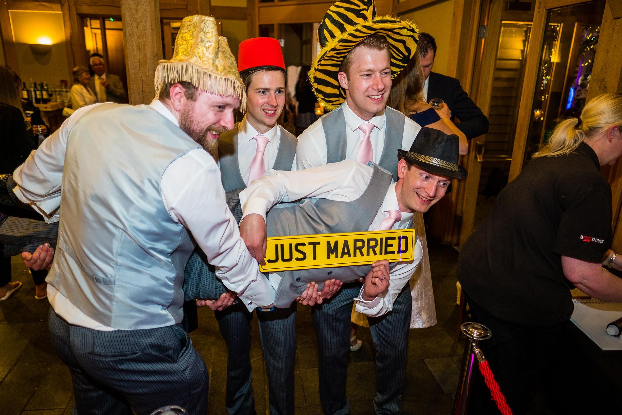 photobooth with groom