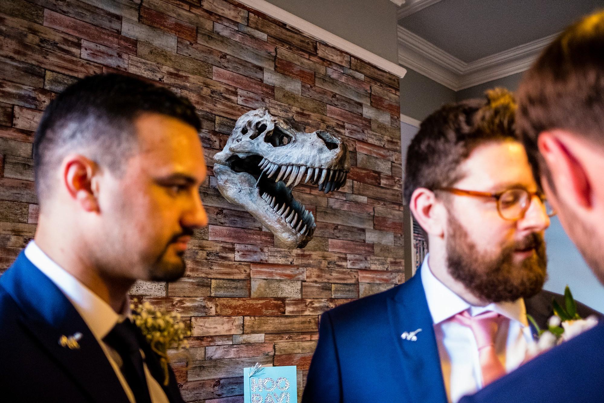 dinosaur on wall