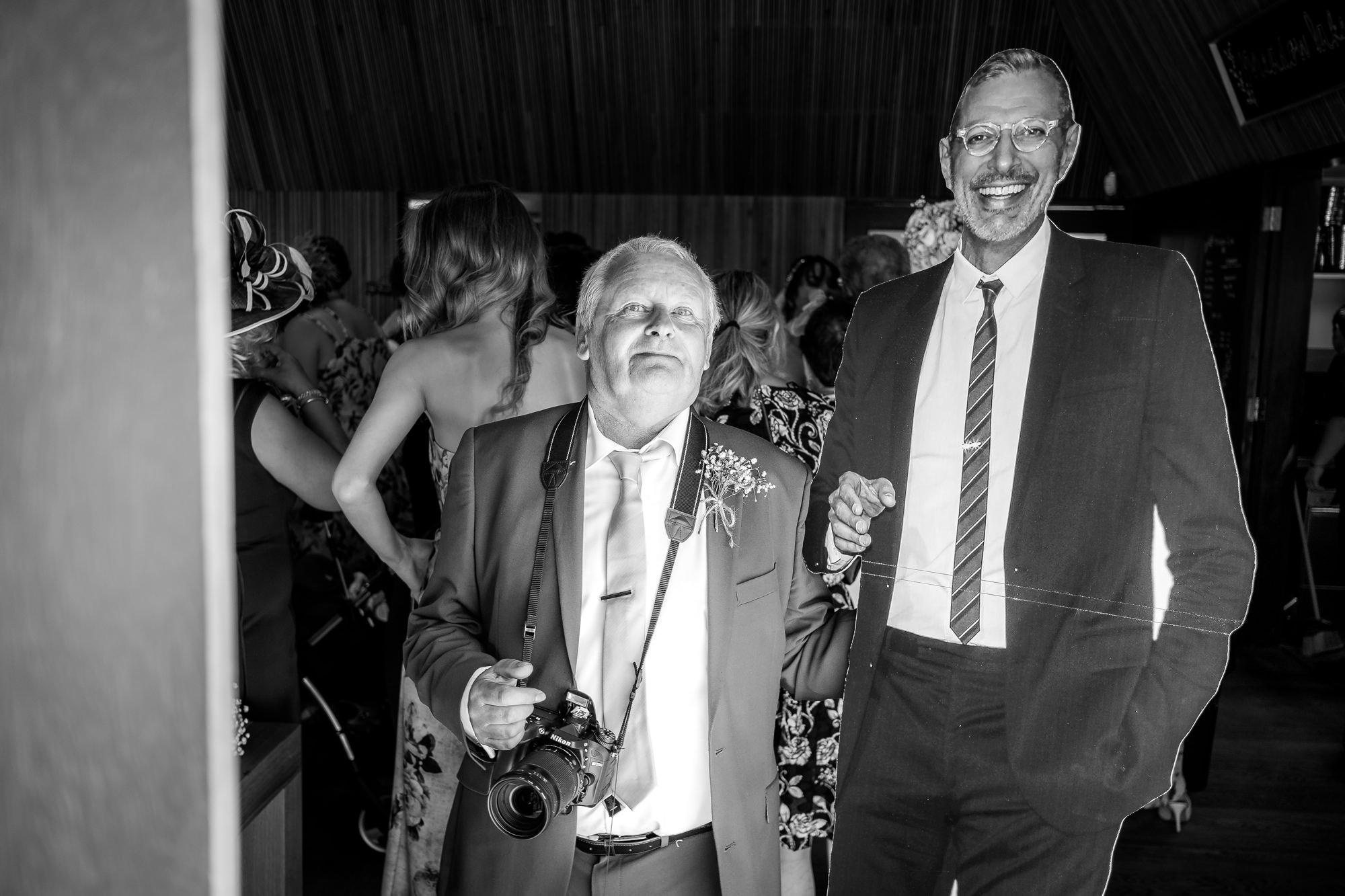 jeff goldblum cutout with brides dad