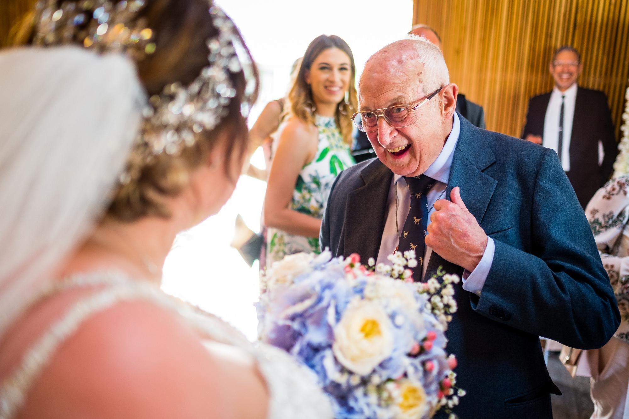 bride greeting guests