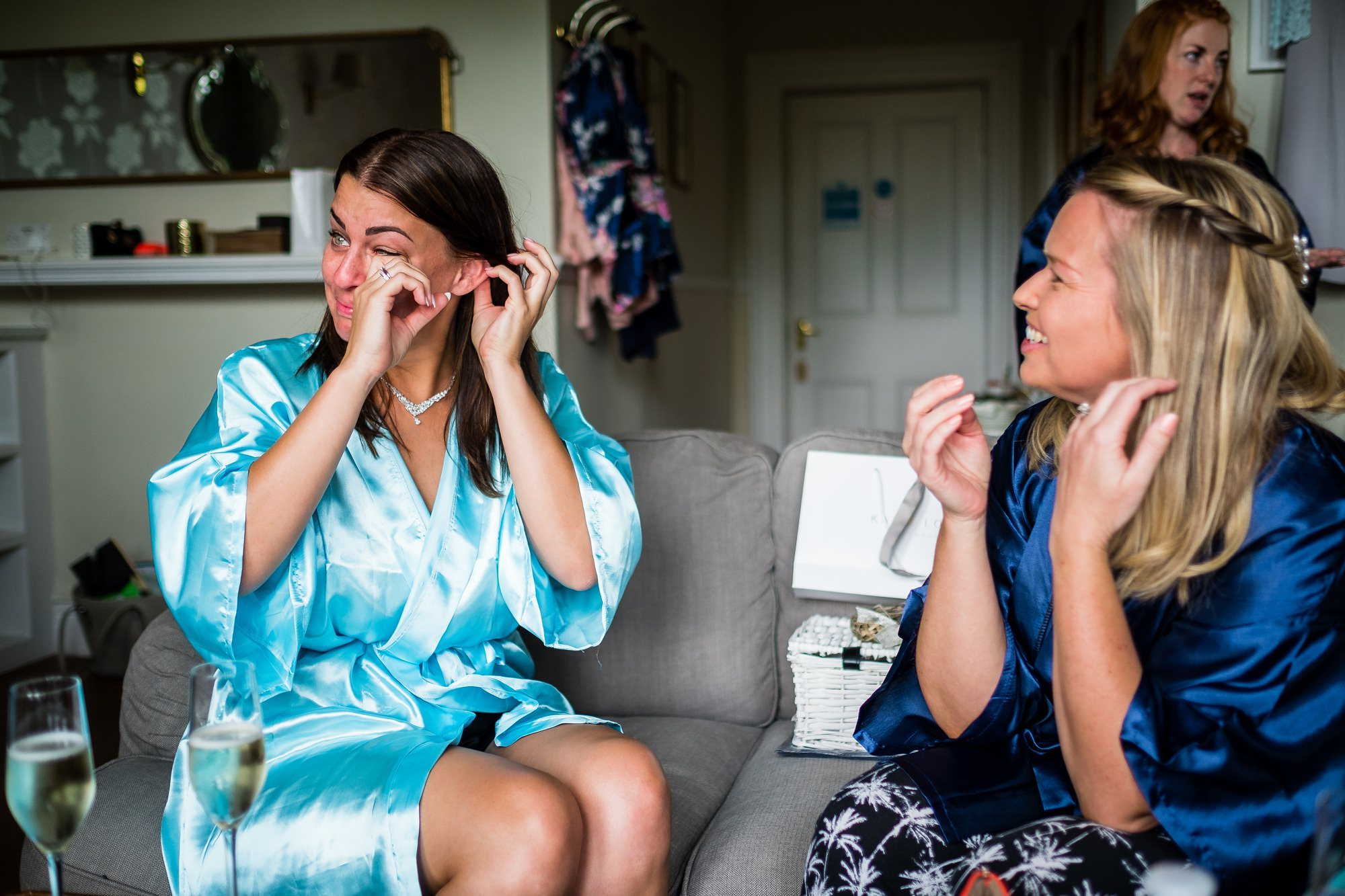 bride crying during gift exchange