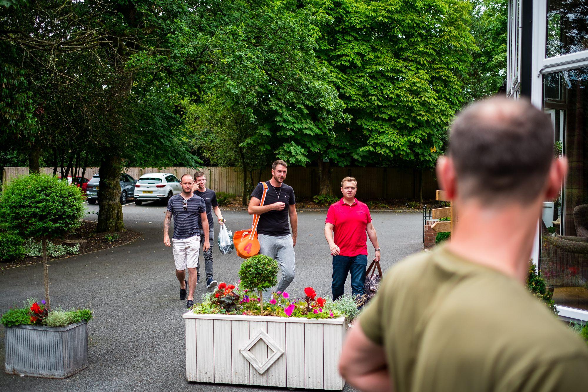 groomsmen arriving at ashfield house