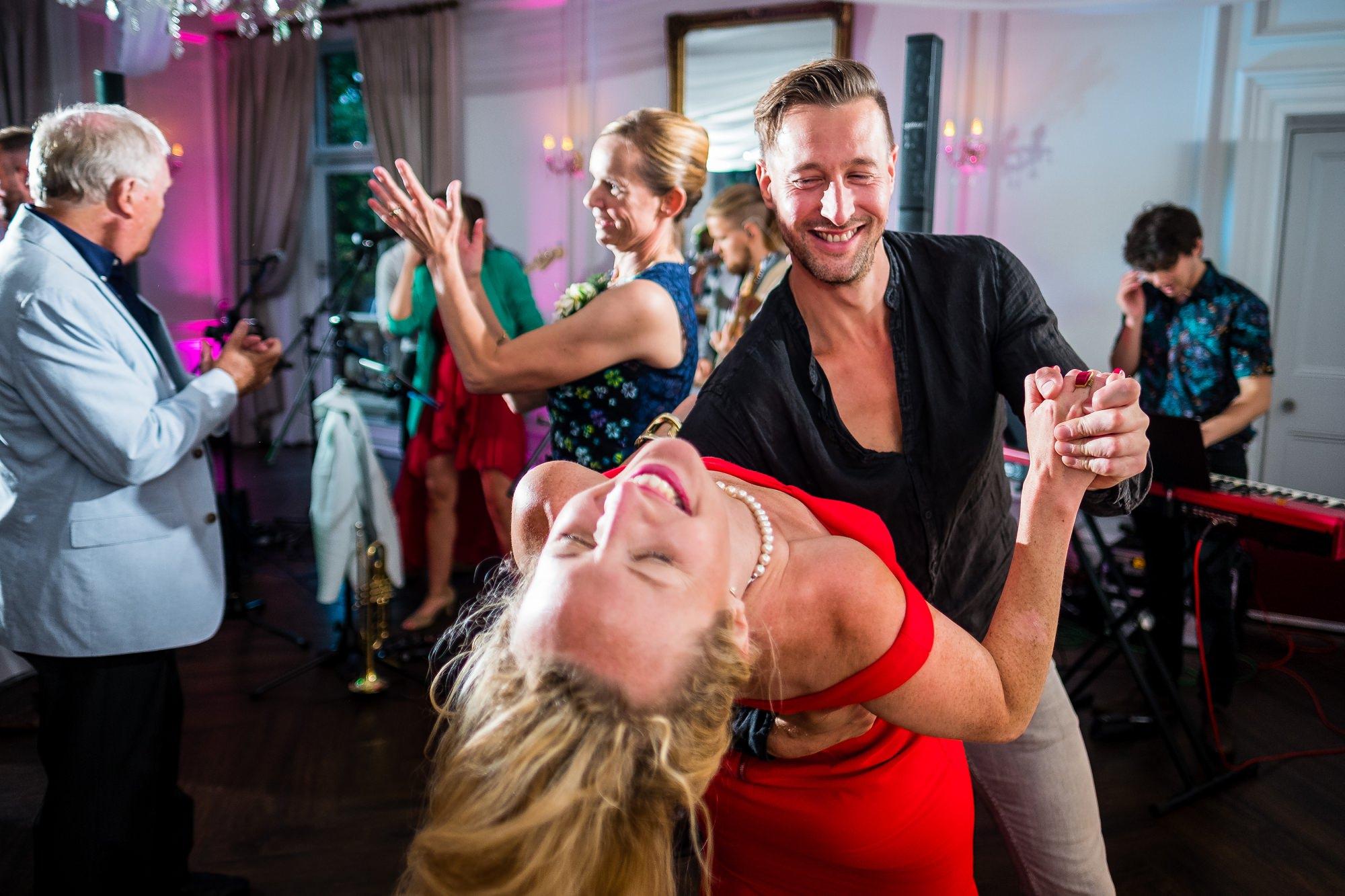 wedding guests doing crazy dance
