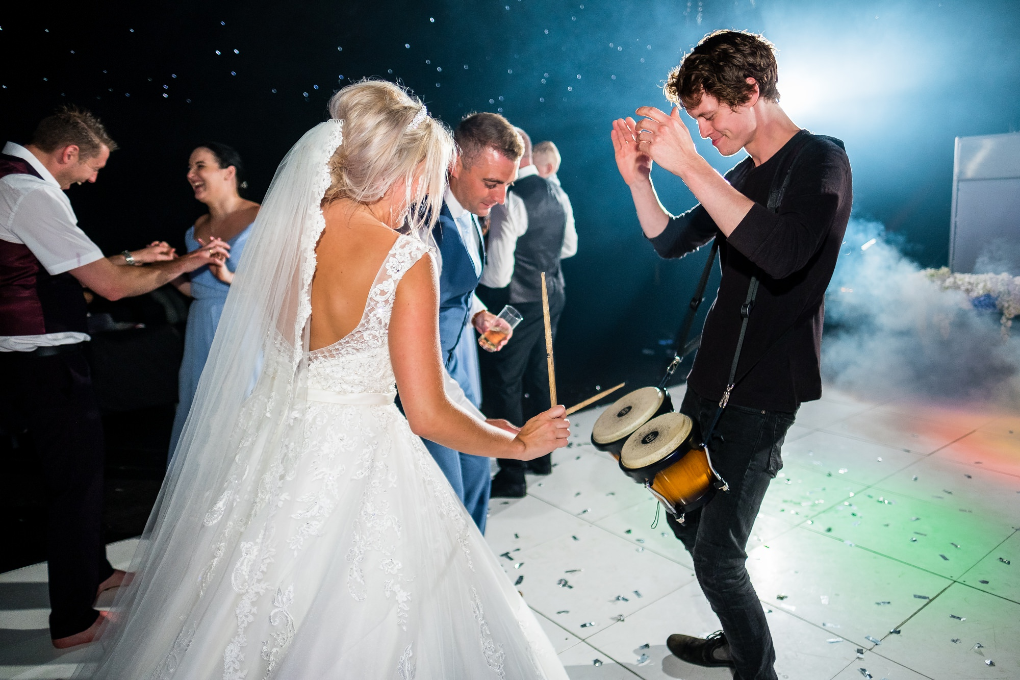 bride playing drums