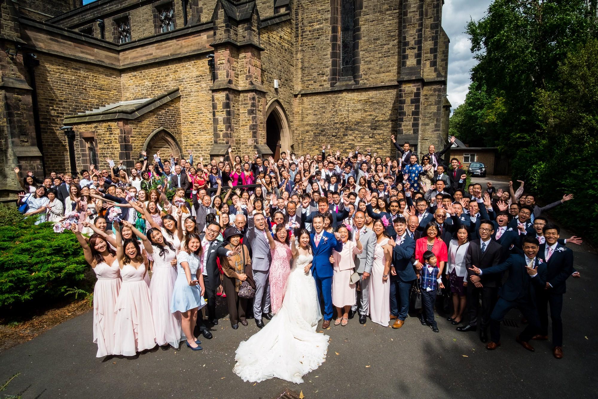 whole wedding party group shot