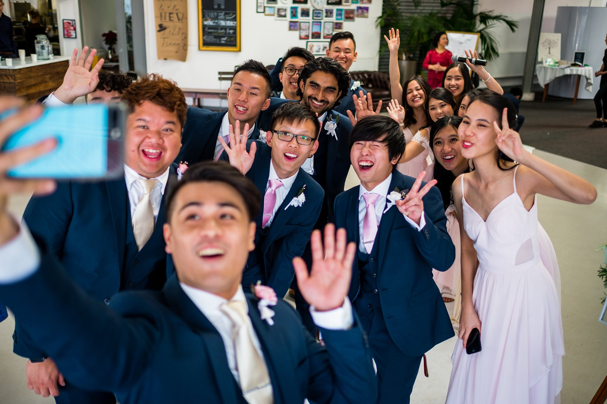 wedding party doing a selfie