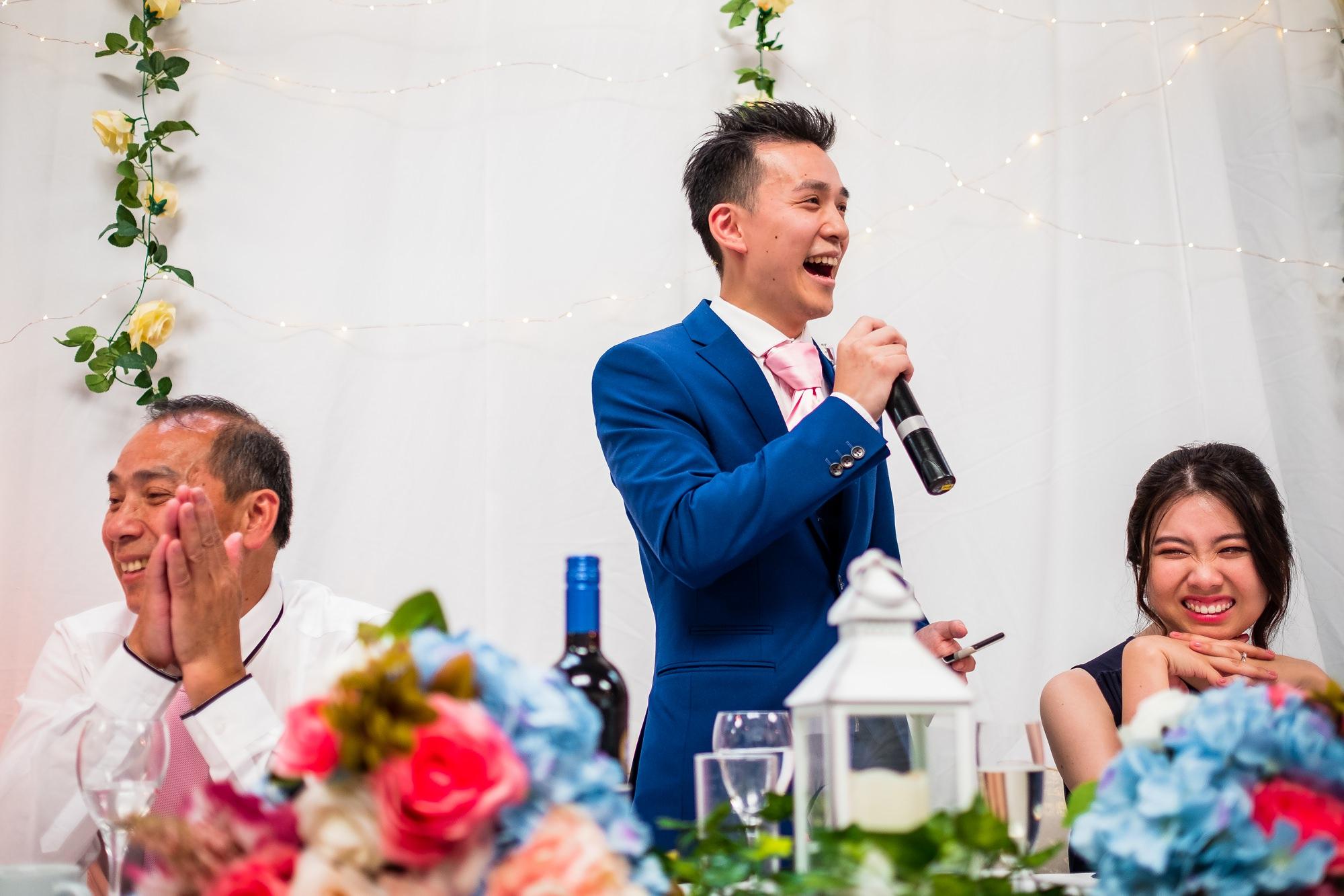 groom giving wedding speech