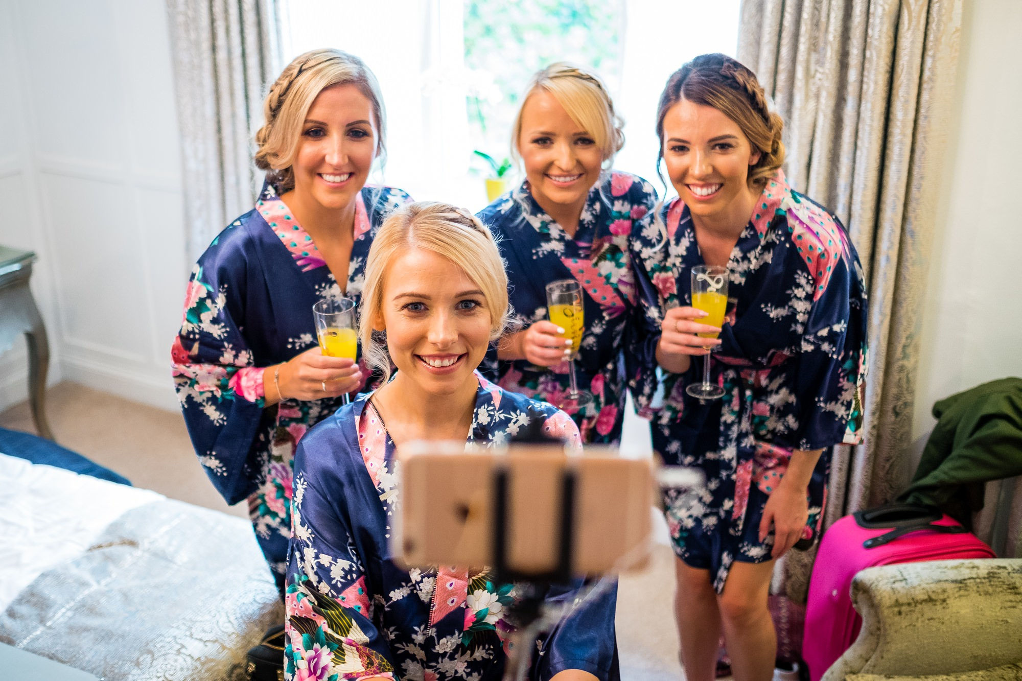bridesmaids doing a selfie