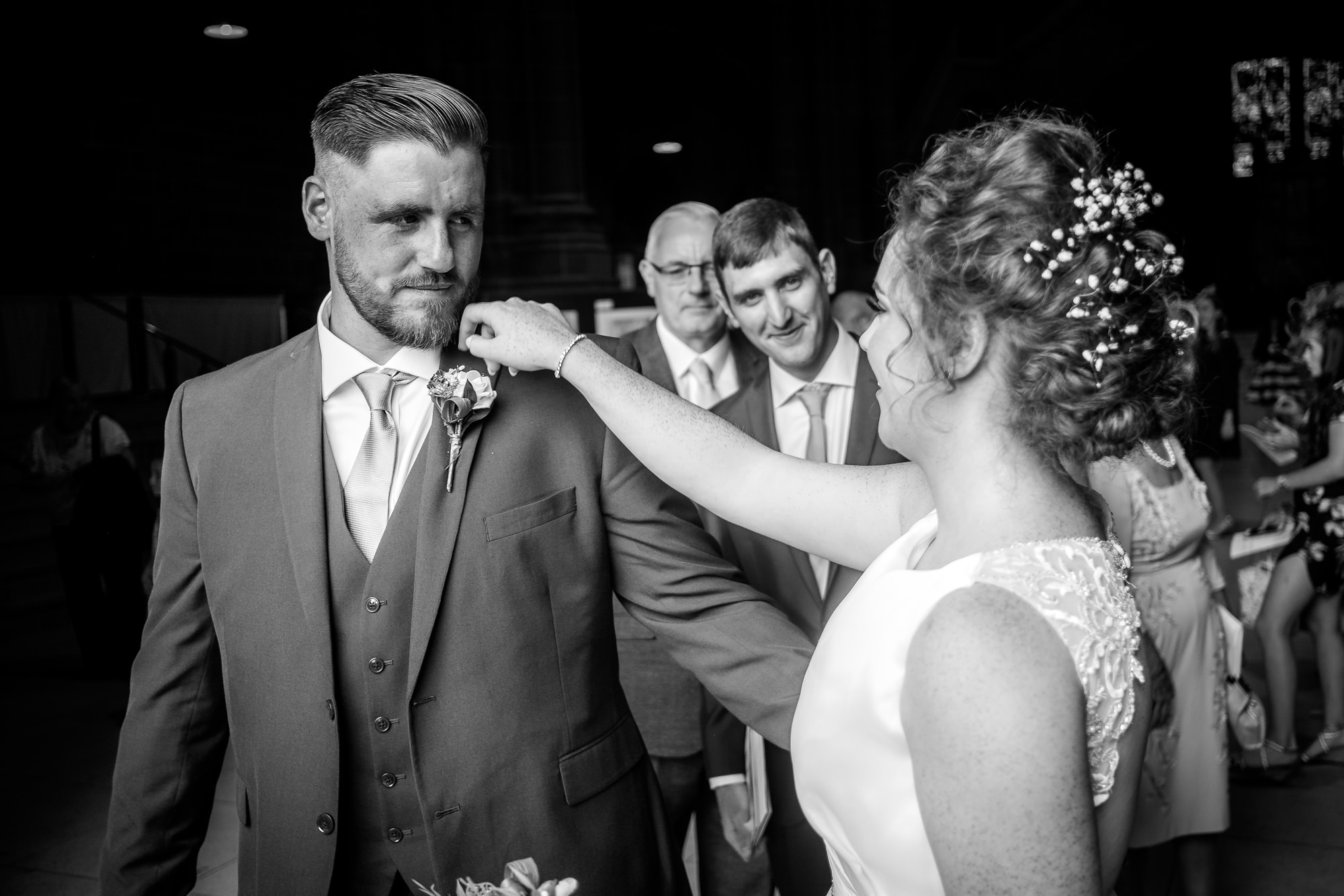 bride and bestman greeting