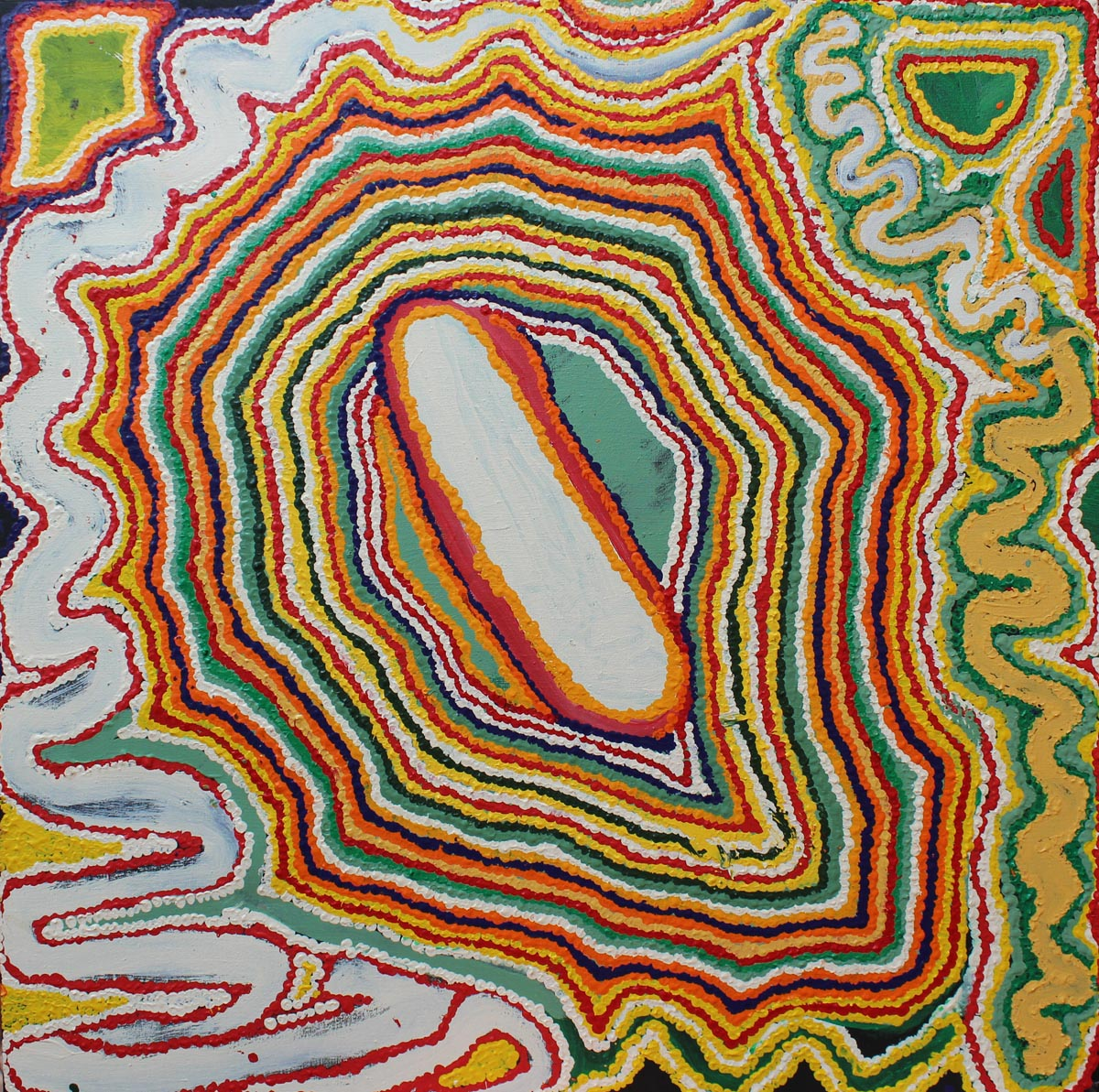 """Jimmy Donegan  Pukara  Acrylic on linen 36"""" x 36"""" (91.5 x 91.5 cm) Catalog #14-186   Price Available upon Request"""