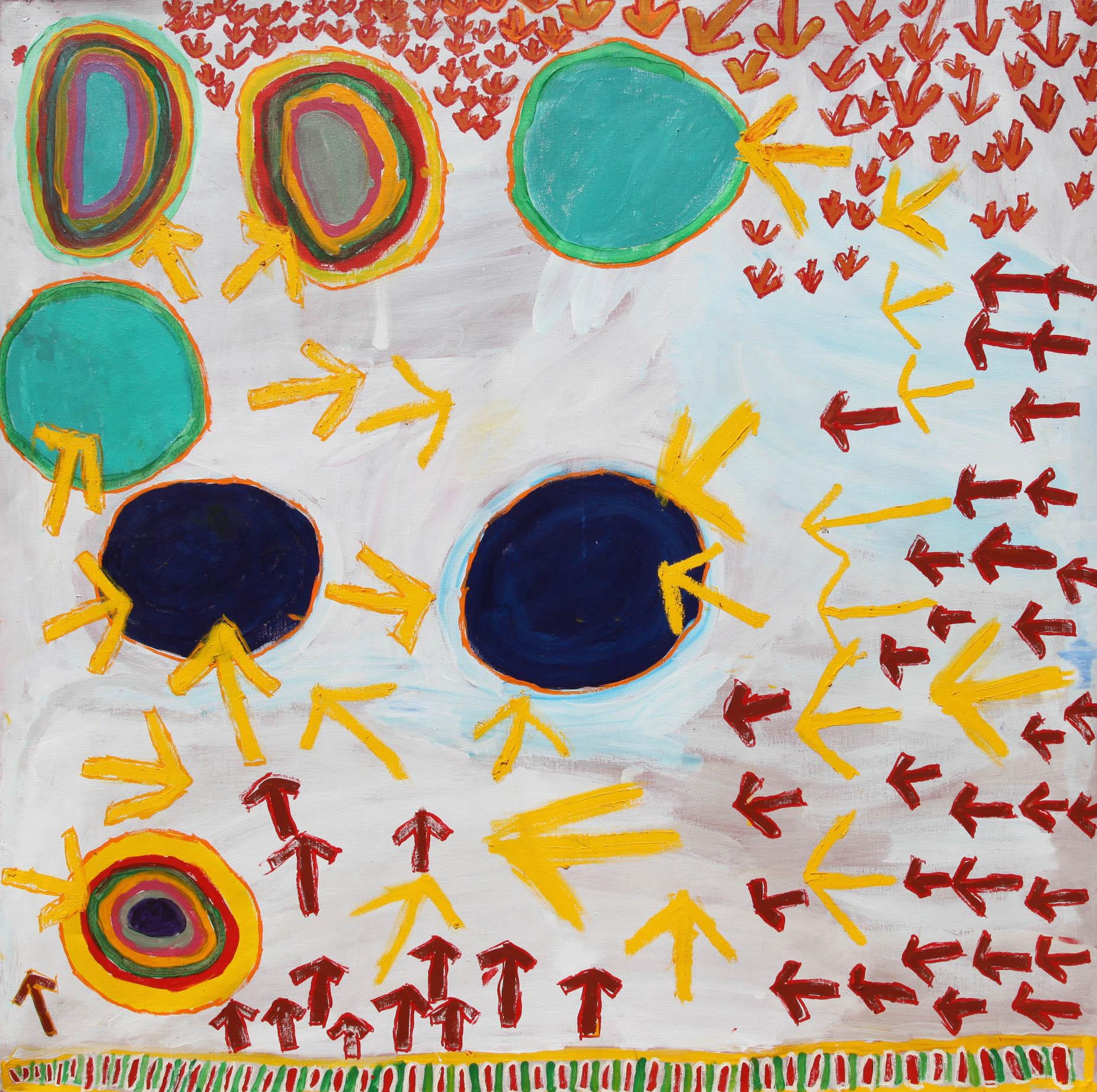 "Judith Anya Samson  Emu Tracks to Puntawarri  Acrylic on linen 60"" x 60"" (150 x 150 cm) Catalog #13-577   Price Available upon Request"