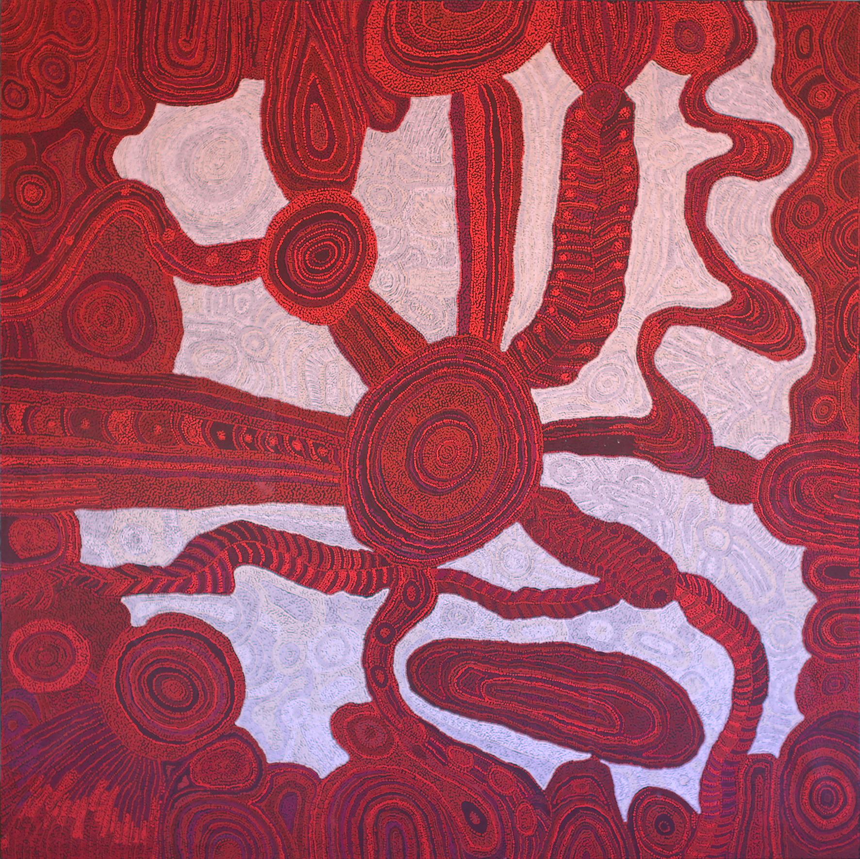 "Betty Kuntiwa Pumani  Antara (Maku Dreaming)  Acrylic on linen 78"" x 78"" (198 x 198 cm) Catalog #225-15  *Winner of the 2015 NATSIAA painting award * SOLD"