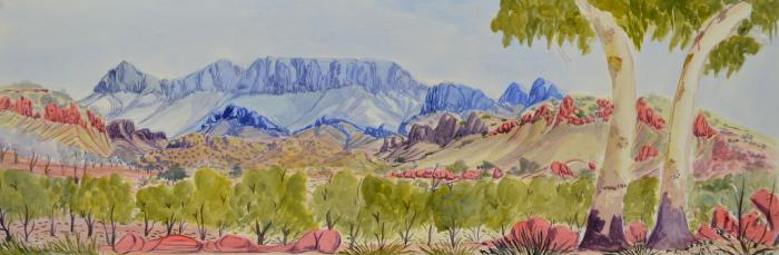 """Lenie Namatjira  West MacDonnell Ranges,NT  Watercolor on backing board, 2014 10"""" x 29"""" (26 x 74 cm) Catalog #1434-11   Price Available upon Request"""