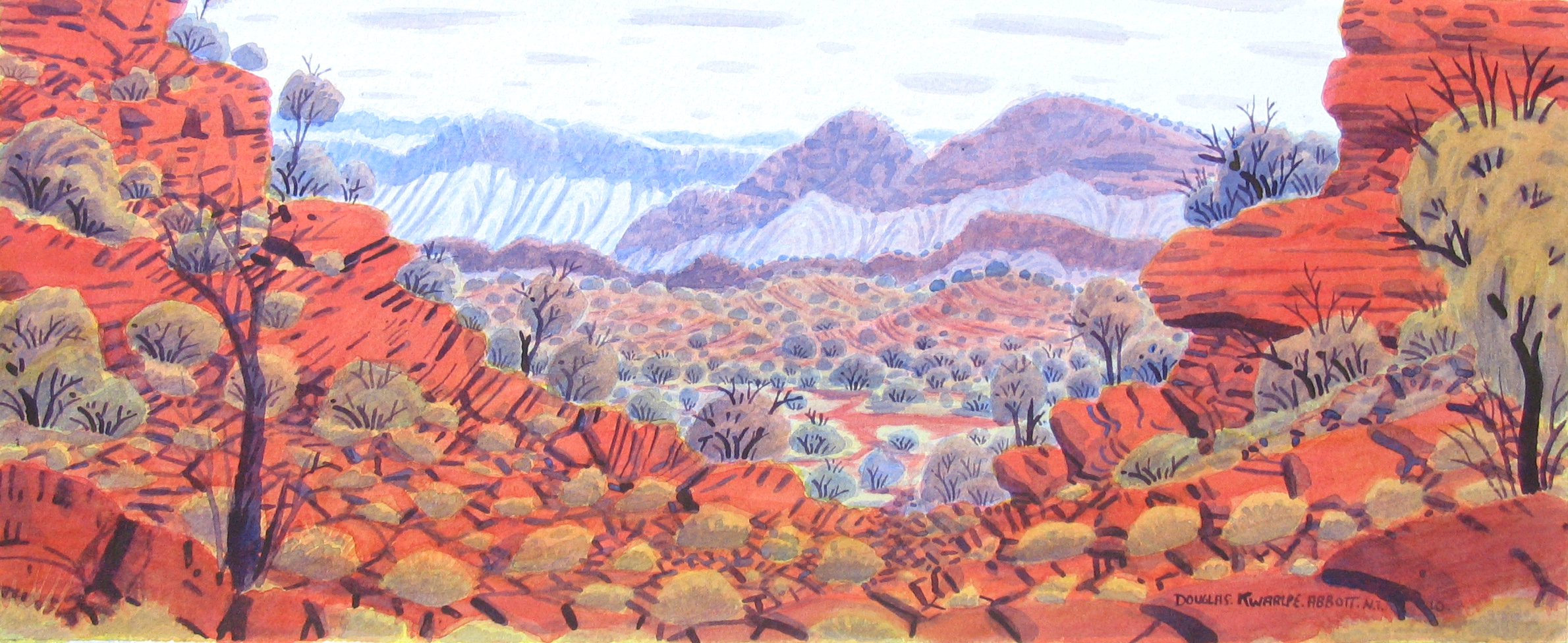 """Douglas Kwarlpe Abbott  James Range, Near Boggy Hole  Watercolor on Paper, 2014 9"""" x 21"""" (23 x 54 cm) Catalog #10846   Price Available upon Request"""