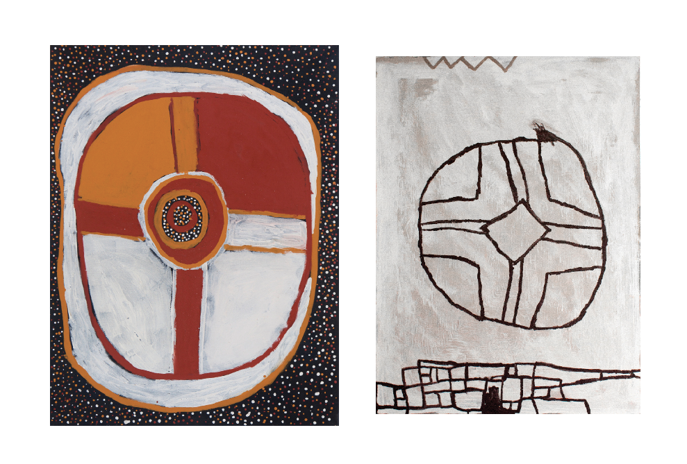 """LEFT: Timothy Cook,  Kulama , Natural ocher on linen, 47"""" x 35"""" RIGHT: LoopmasterM, Untitled (or  Another Desert Compass ), Acrylic on Arches cover paper, 41"""" x 29""""   Prices Available Upon Request"""