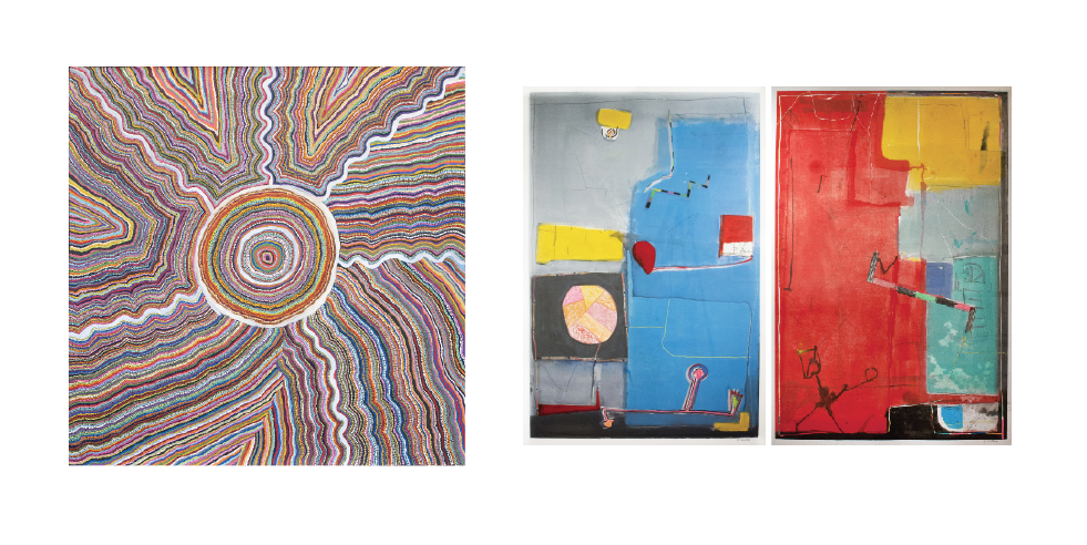 """LEFT: Samuel Miller,  Ngayuku Ngura , Acrylic on linen, 72"""" x 72"""" CENTER: Gustavo Ramos Rivera, Untitled, Monotype w/handwork on Landquarelle paper, 60"""" x 42"""" RIGHT: Gustavo Ramos Rivera, Untitled, Oil w/Wax resist on Lanaquarelle paper, 60"""" x 42""""   Prices Available Upon Request"""