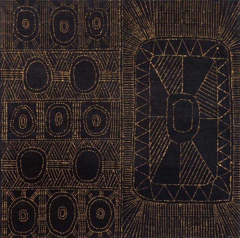 "Josephine Burak  Kulama Design  Ocher on linen 39"" x 39"" (100 x 100 cm) Catalog #10JB508   Price Available upon Request"