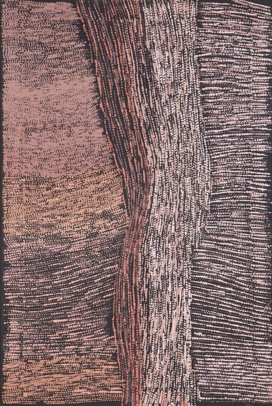 "Cornelia Tipuamantumirri Untitled Ocher on linen 47"" x 31.5"" (120 x 80 cm) Catalog #12COR375   ON RESERVE"