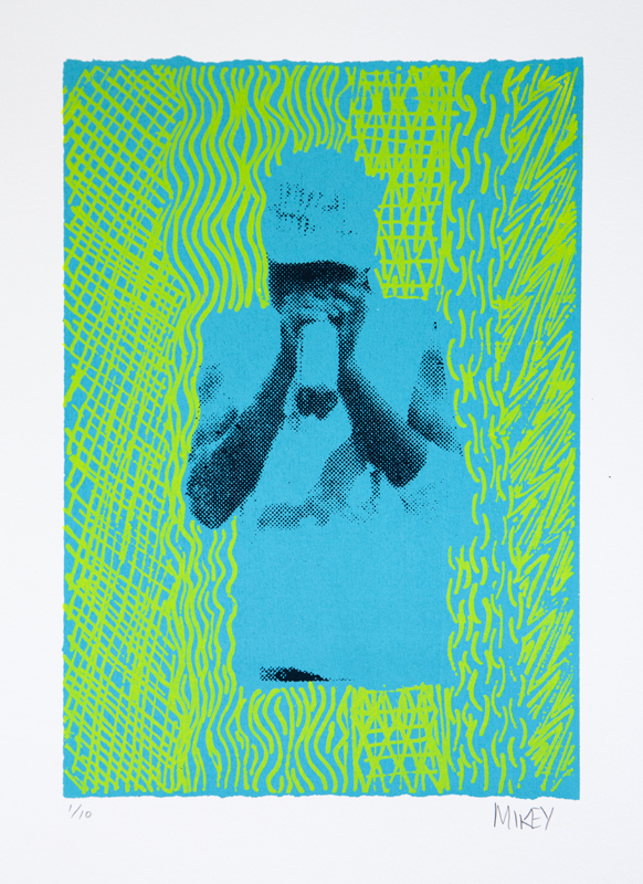 "Mikey Gurruwiwi  Petrol Sniffer  Screenprint: 12"" x 8"" (30 x 21 cm) Framed: 22"" x 17"" Edition Size 10 Fabriano paper Catalog #126E   Price Available upon Request"