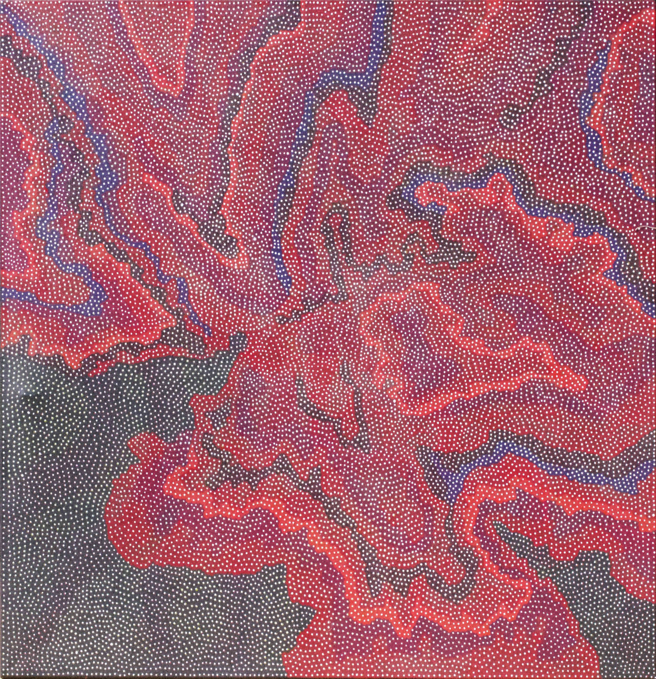 "Robert Fielding Punnagka  Kunkarangkanypa Tjukurpa (Seven Sisters)  Acrylic on linen 59"" x 59"" (150 x 150 cm) Mimili Maku Arts Catalog #522-15   Price Available upon Request"