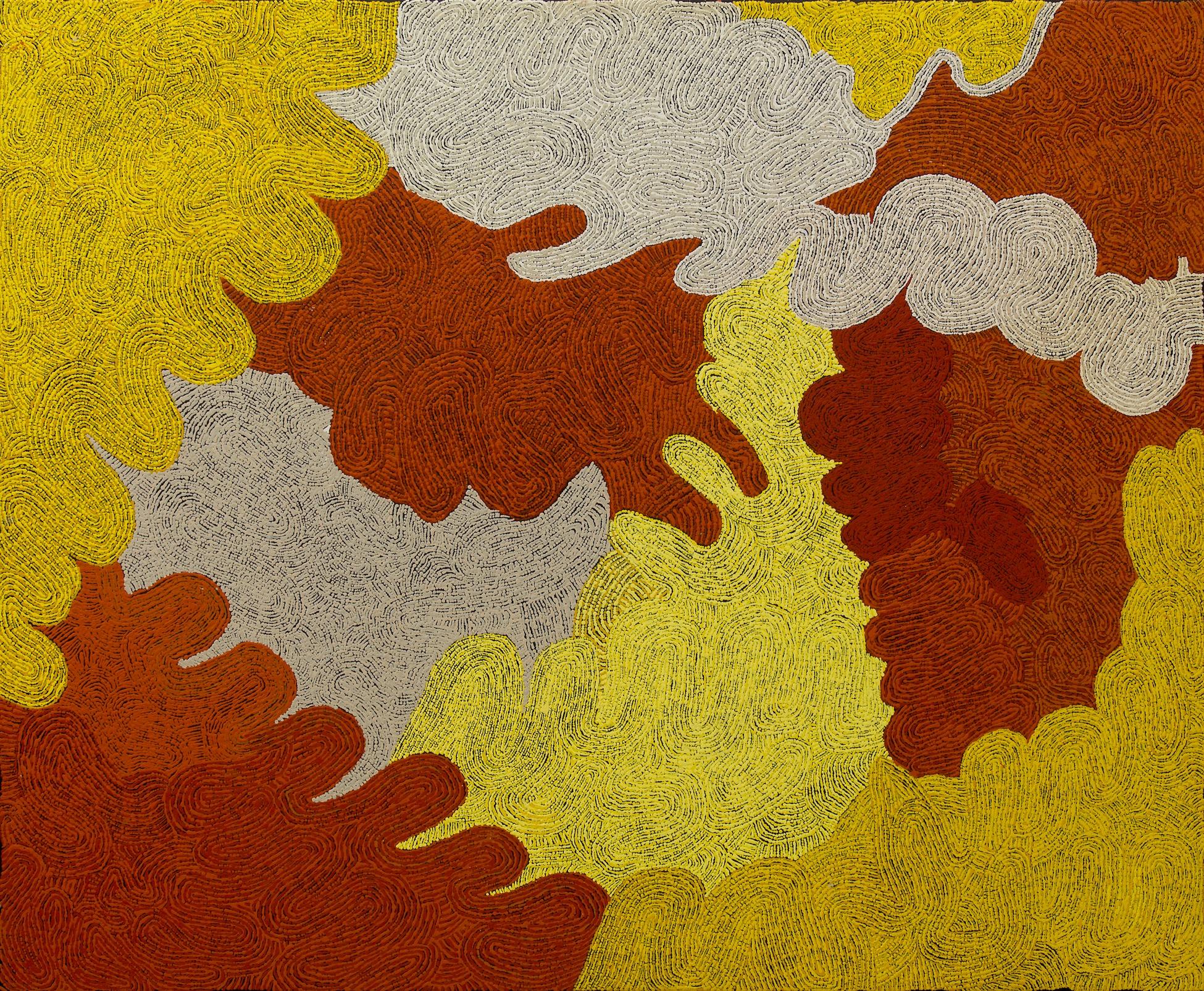"Carlene Thompson  Kalaya ngura  Acrylic on canvas 39"" x 48"" (100 x 122 cm) Catalog #472-14   Price Available upon Request"