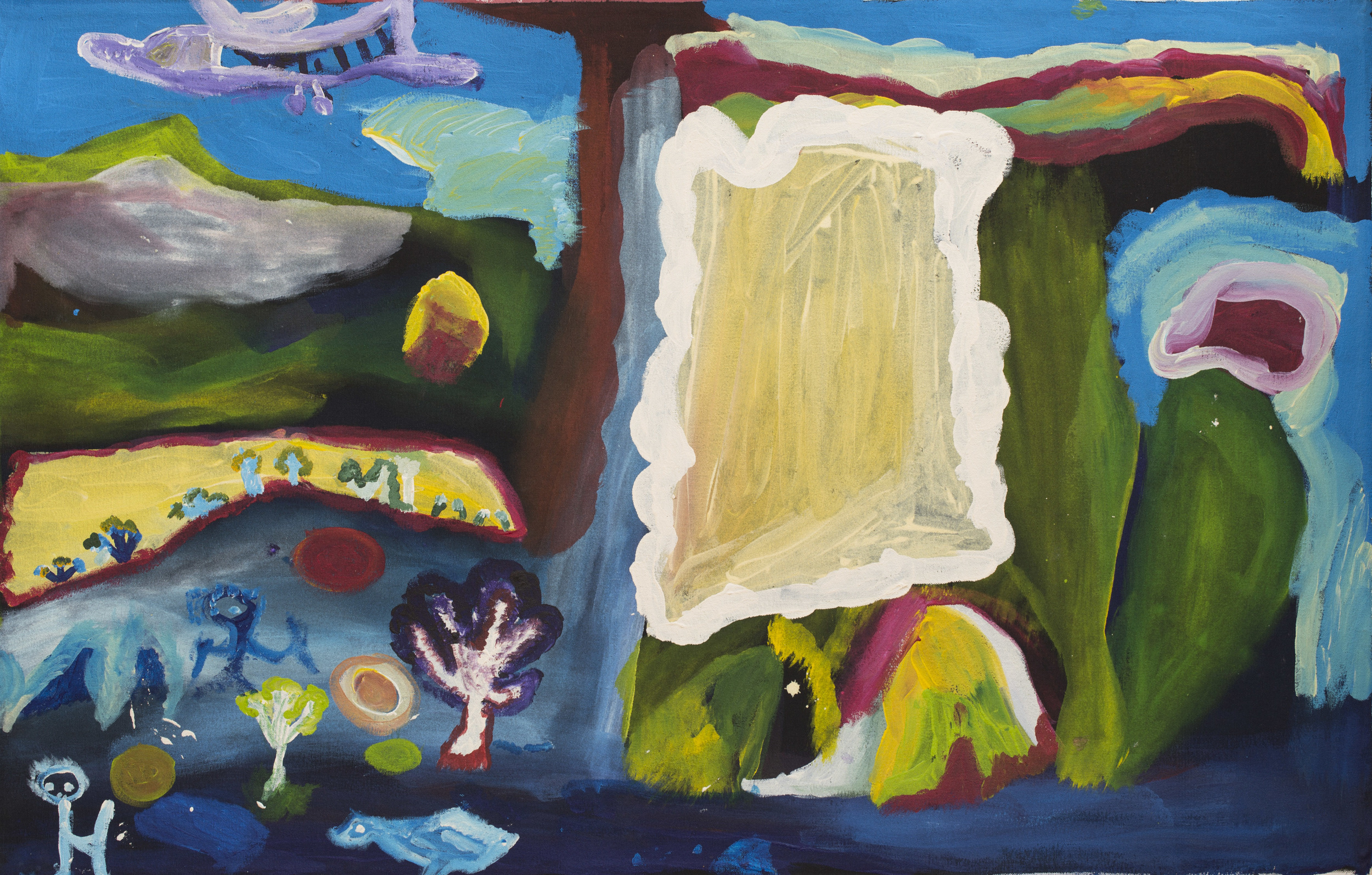 "Amy French  Hunting and a plane in pujiman (bushman days)  Acrylic on canvas 30"" x 48"" (76 x 122 cm) Martumili Artists Catalog #14-101   EMAIL INQUIRY"
