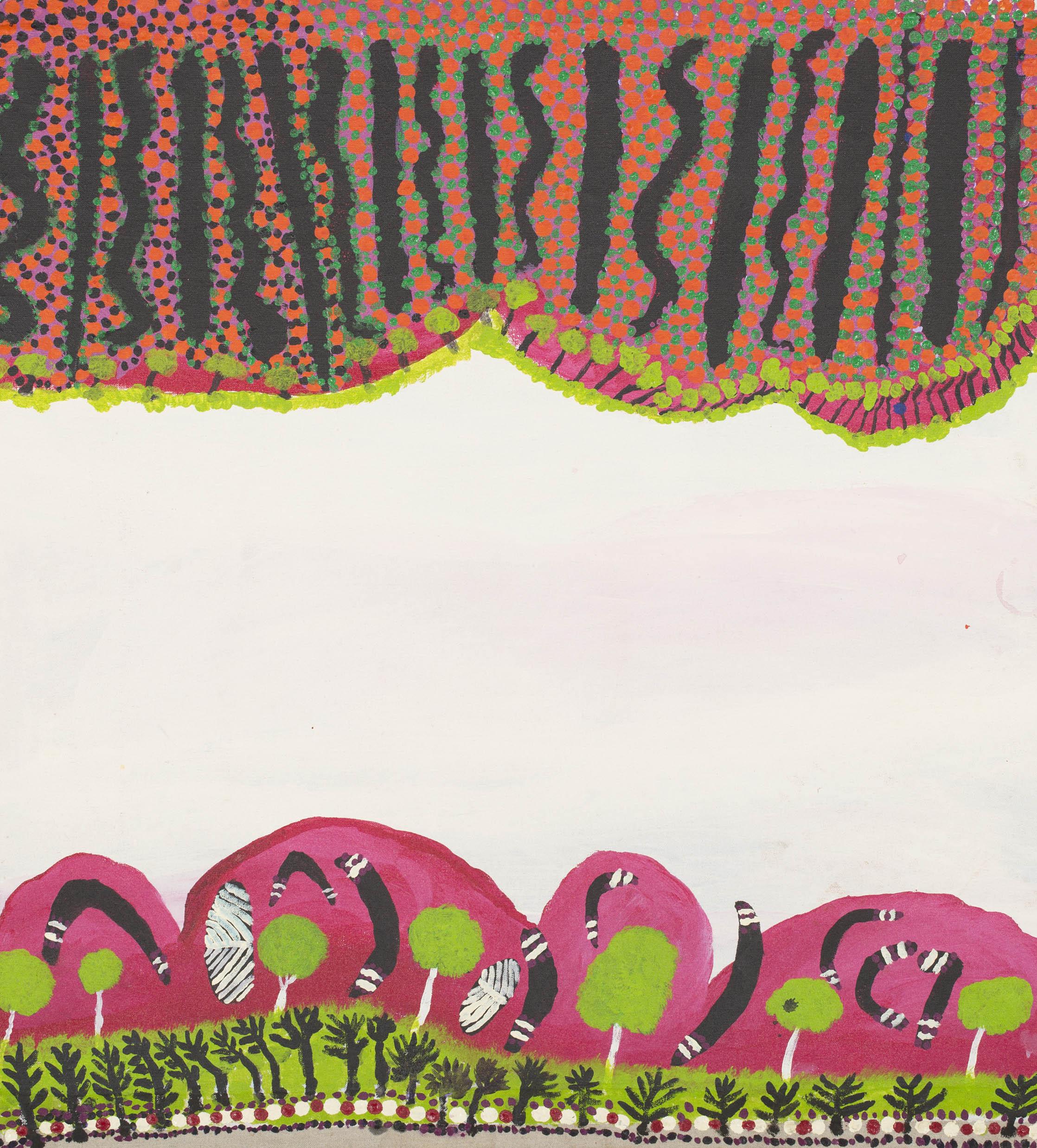 "Billy Yunkurra Atkins  Savory Creek  Acrylic on linen 36"" x 36"" (91 x 91 cm) Martumili Artists Catalog #14-303   EMAIL INQUIRY"