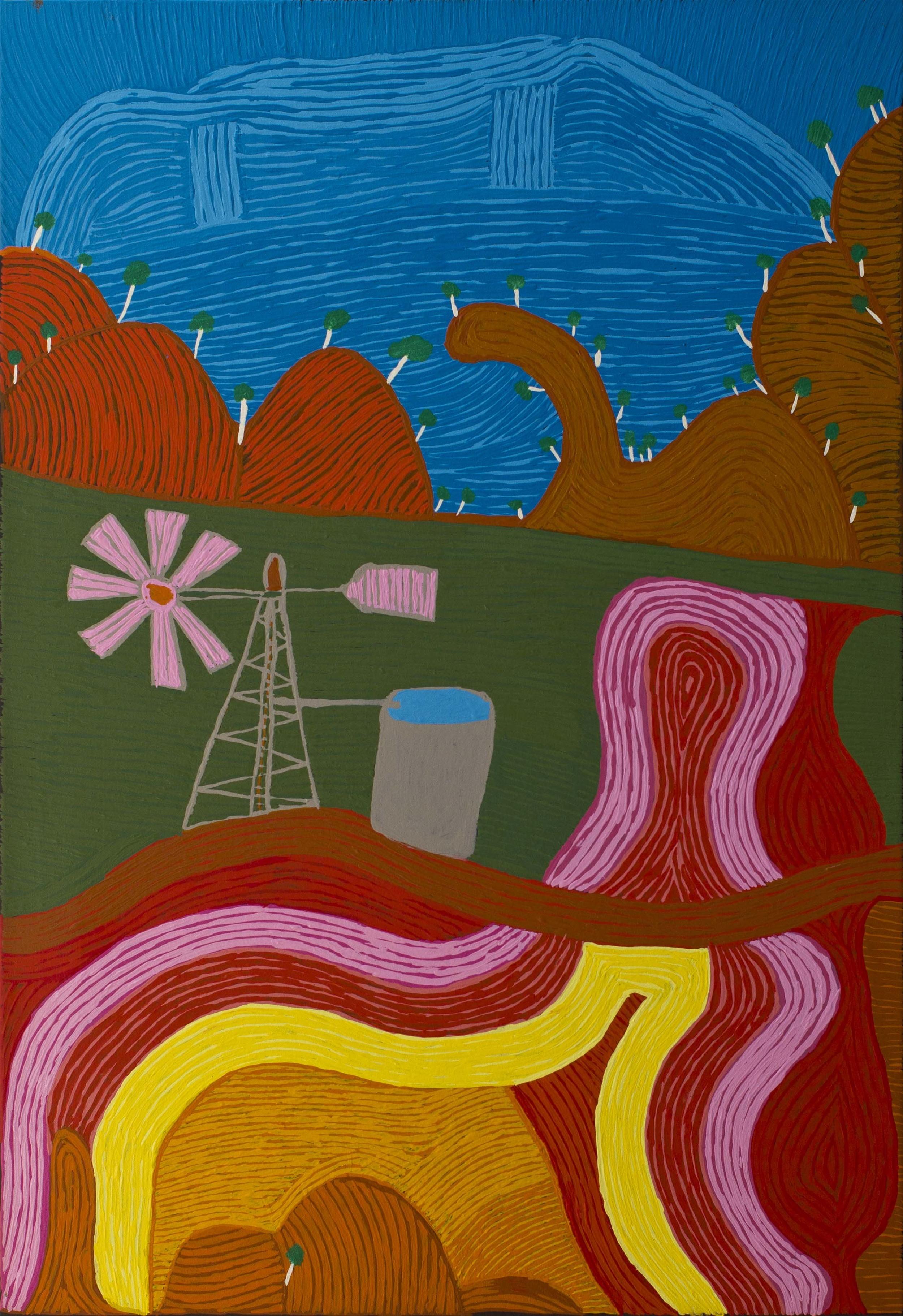 Niningka Munkuri Lewis Ernabella-La 30 x 48 inches (84 x 122 cm) Acrylic on canvas Ernabella Arts Catalog #596-12   EMAIL INQUIRY