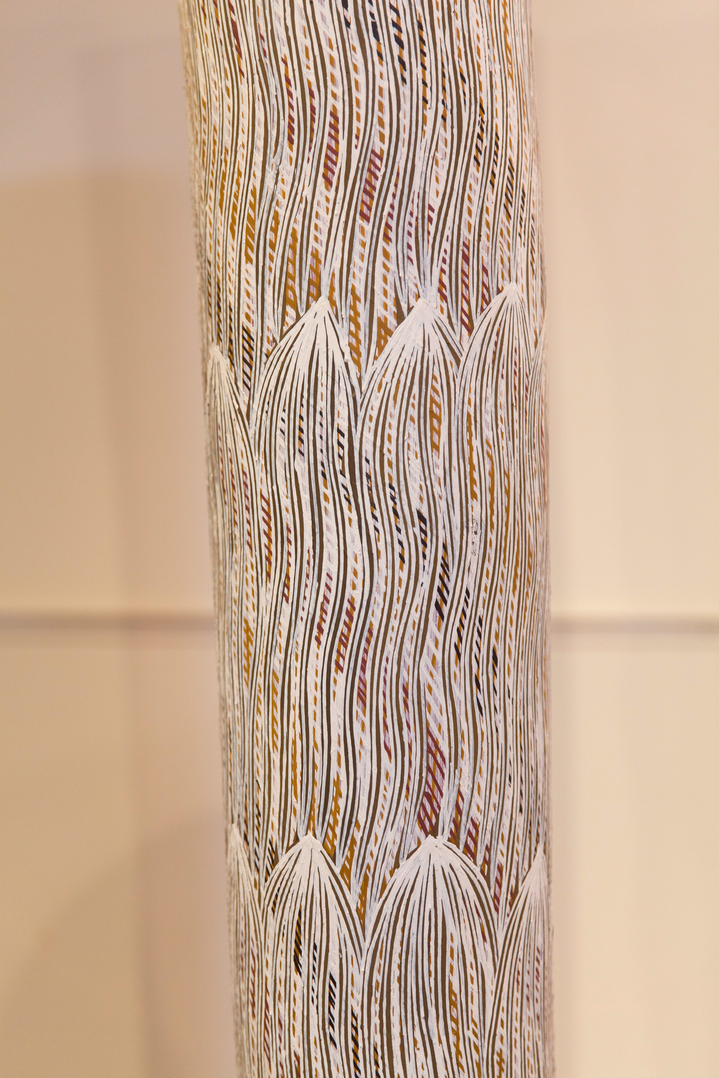 """Liyawaday Wirrpanda  Yalata  Earth pigments on stringy bark pole 87"""" (220 cm) Catalog #4305A   Price Available upon Request"""