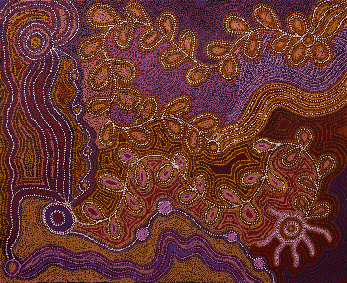 "Alison Munti Riley & Tjunkaya Tapaya  Ara Irititja, Nganampa Ngura  Acrylic on canvas 39"" x 48"" (100 x 122 cm) Ernabella Arts Catalog #73-14   SOLD"
