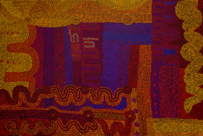 "Alison Munti Riley  Tjitji Kutjara  Acrylic on canvas 48"" x 72"" (122 x 182 cm) Catalog #49-14   Price Available upon Request"