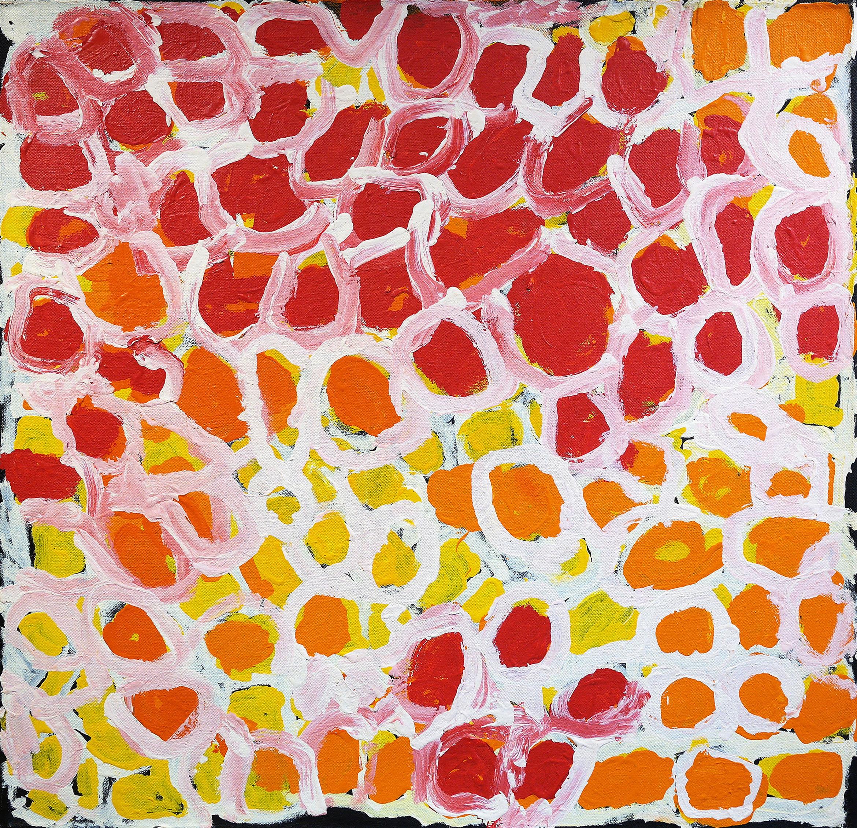 "Harry Tjutjuna  Kungka Tjuta  Acrylic on Belgian linen 36"" x 36"" (91 x 91 cm) Ninuku Arts Catalog #13119   Price Available upon Request"