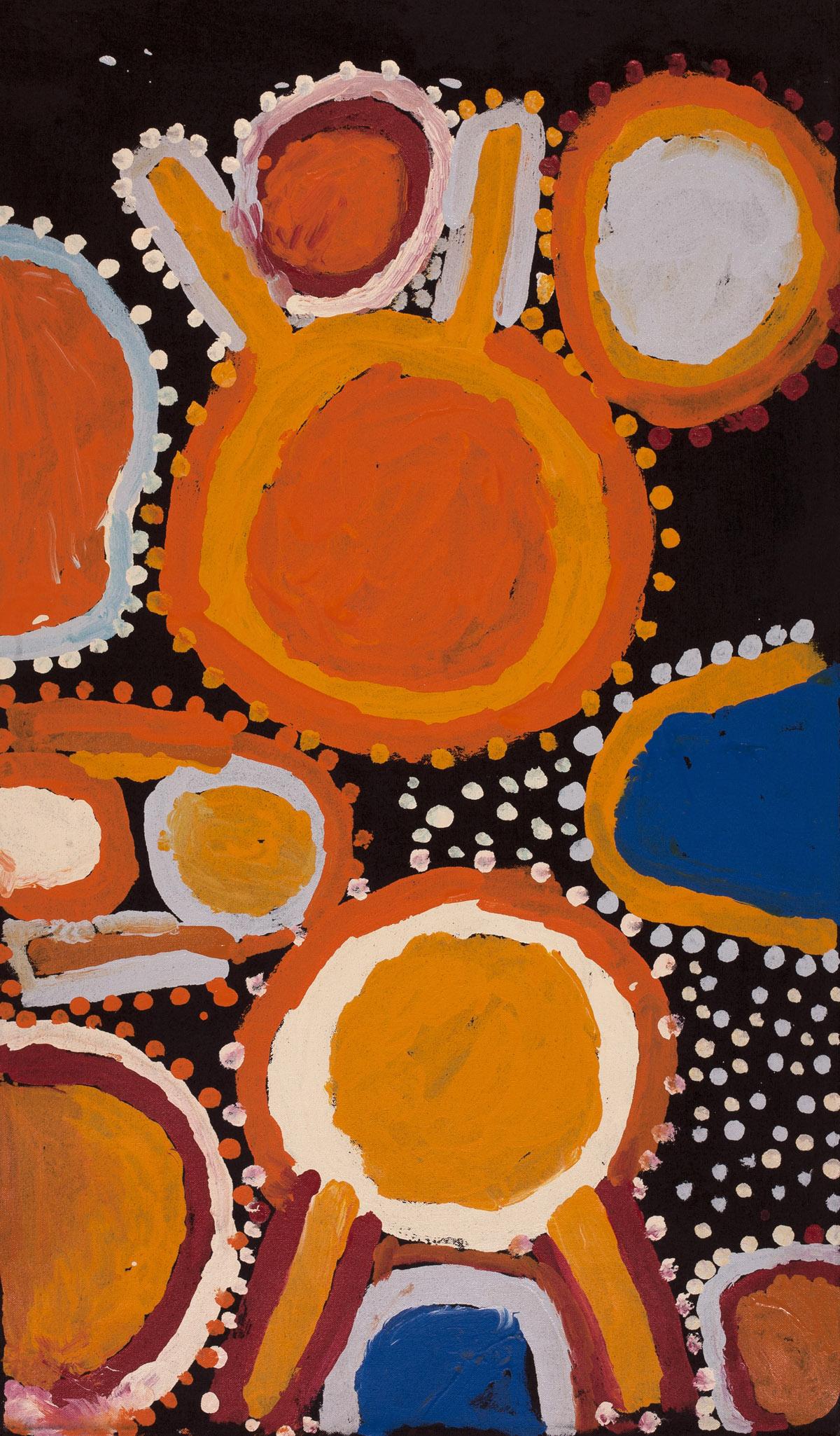 "Sandy Brumby  Wapilka  Acrylic on Belgian linen 42"" x 24"" (107 x 61 cm) Ninuku Arts Catalog #11543   Price Available upon Request"