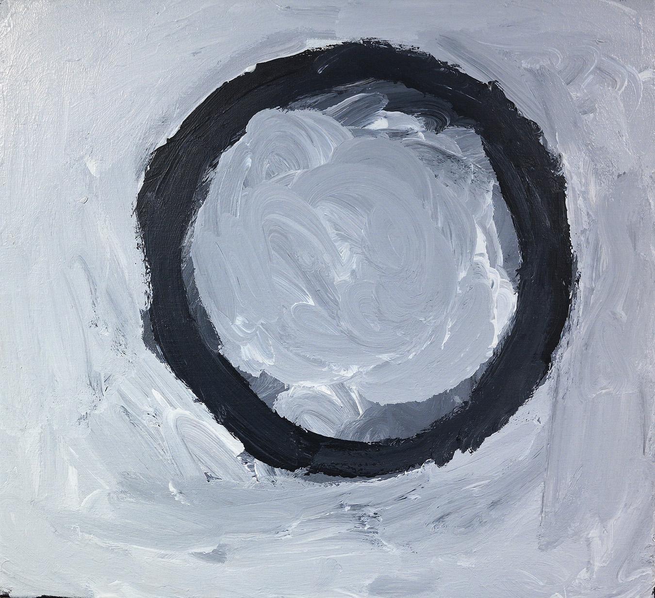 "Sandy Brumby  Victory Downs  Acrylic on Belgian linen 24"" x 22"" (61 x 56 cm) Ninuku Arts Catalog #14-273   SOLD"
