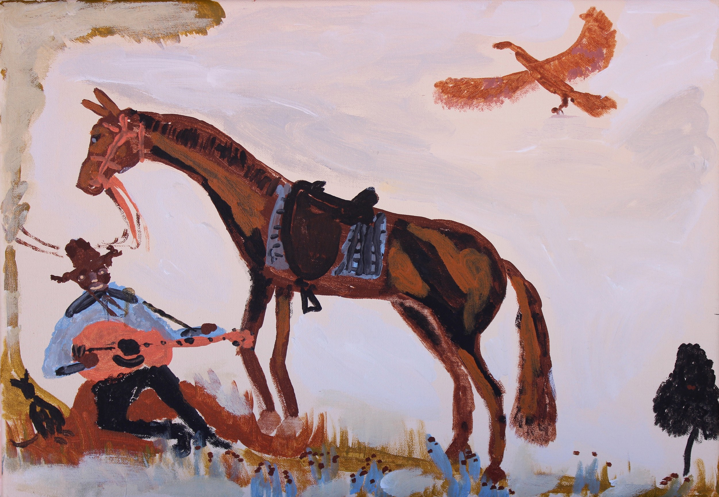 """Jimmy Pompey  Cowboy Story  Acrylic on canvas 14""""x 20""""(36 x 51 cm) Iwantja Arts Catalog #583-15   Price Available upon Request"""