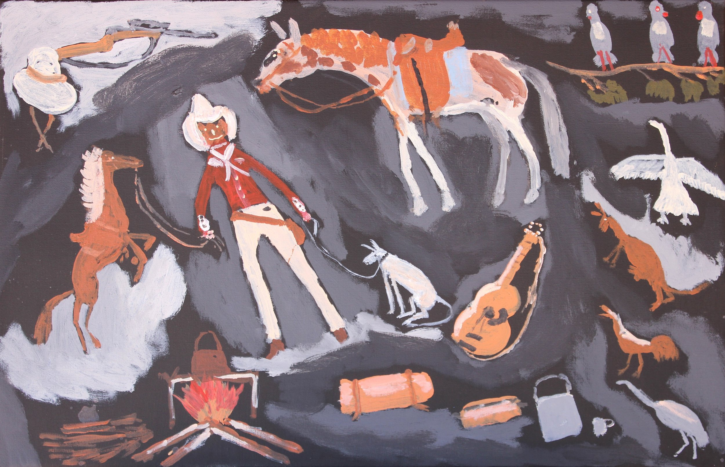 "Jimmy Pompey  Cowboy Story  Acrylic on canvas 18"" x 28"" (46 x 71 cm) Iwantja Arts Catalog #589-15   EMAIL INQUIRY"