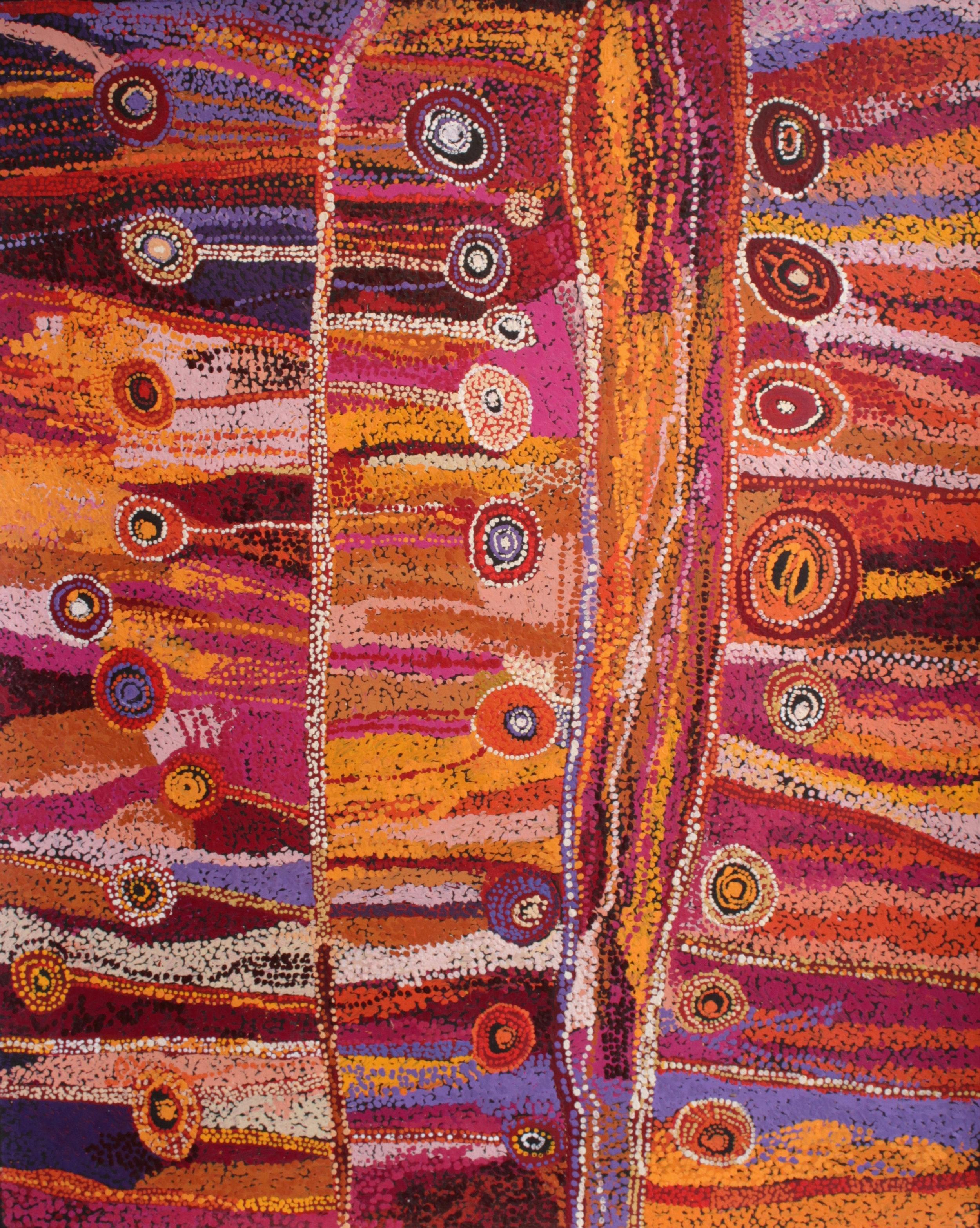 "Wawiriya Burton  Ngayuku ngura- My Country   Acrylic on Belgian linen 1525 x 1220 mm (60 x 48"") Tjala Arts Catalog #454-16   Price Available upon Request"