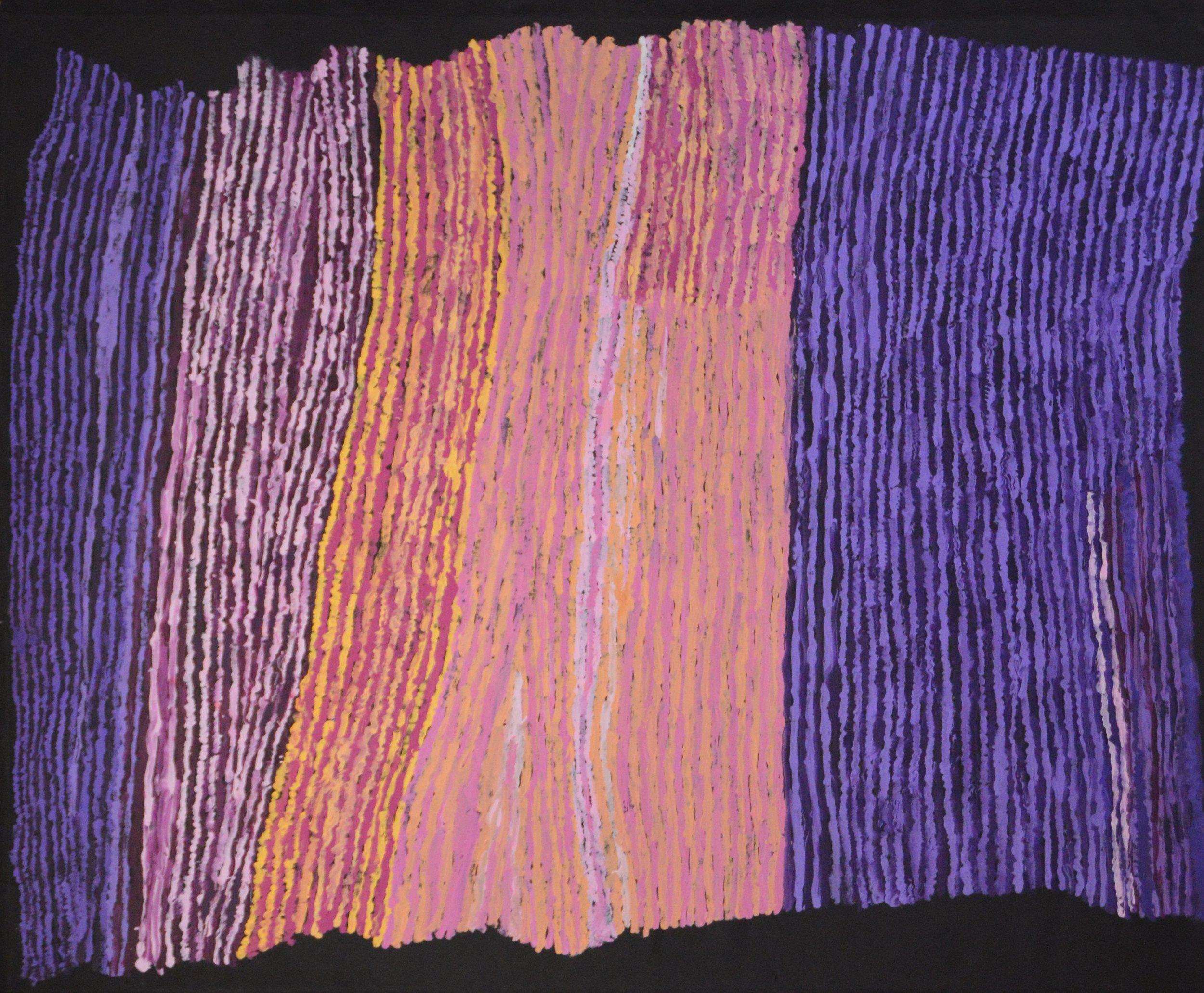 "Ray Ken  Tali - Sand Dune   Acrylic on Belgian linen 1220 x 1520 mm (48 x 60"") Tjala Arts Catalog #395-16   SOLD"