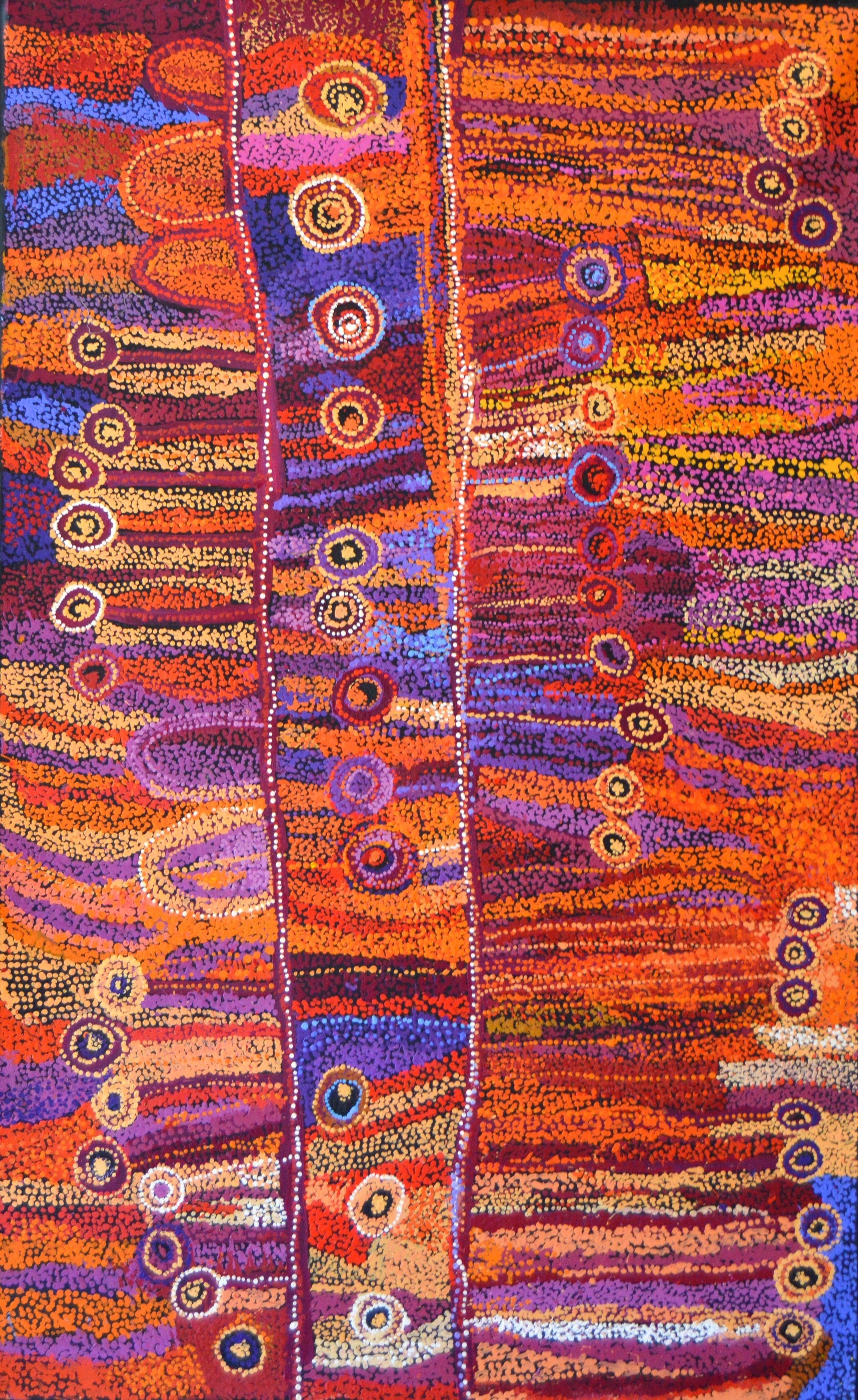 "Wawiriya Burton  Ngayuku ngura- My Country   Acrylic on Belgian linen 1525 x 1980 mm (60 x 78"") Tjala Arts Catalog #485-15   Price Available upon Request"