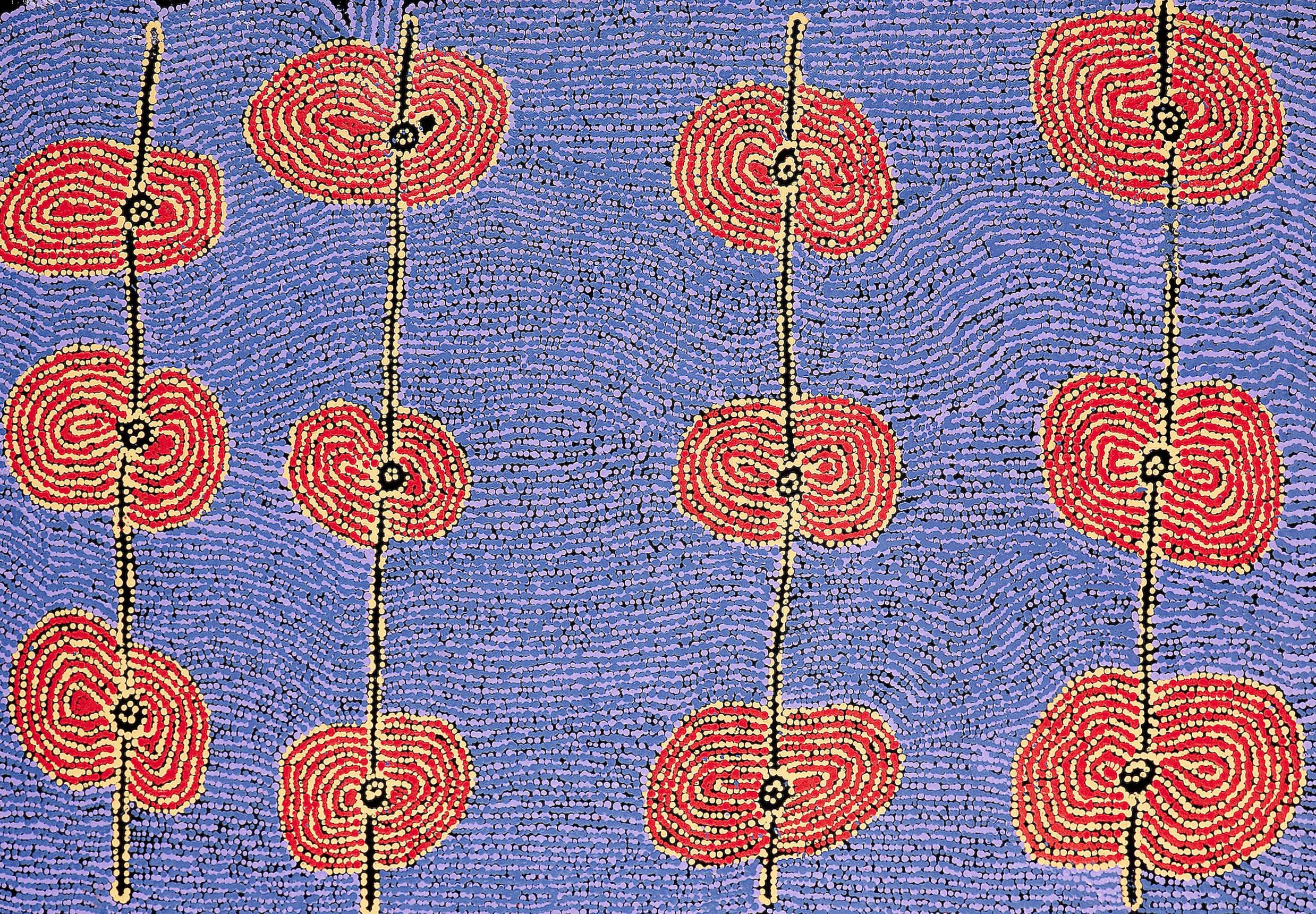"Tjariya Stanley  Minyma Kutjara Irrunytju  Acrylic on linen "" (68 x 100 cm) Ernabella Arts Catalog #13-306   SOLD"