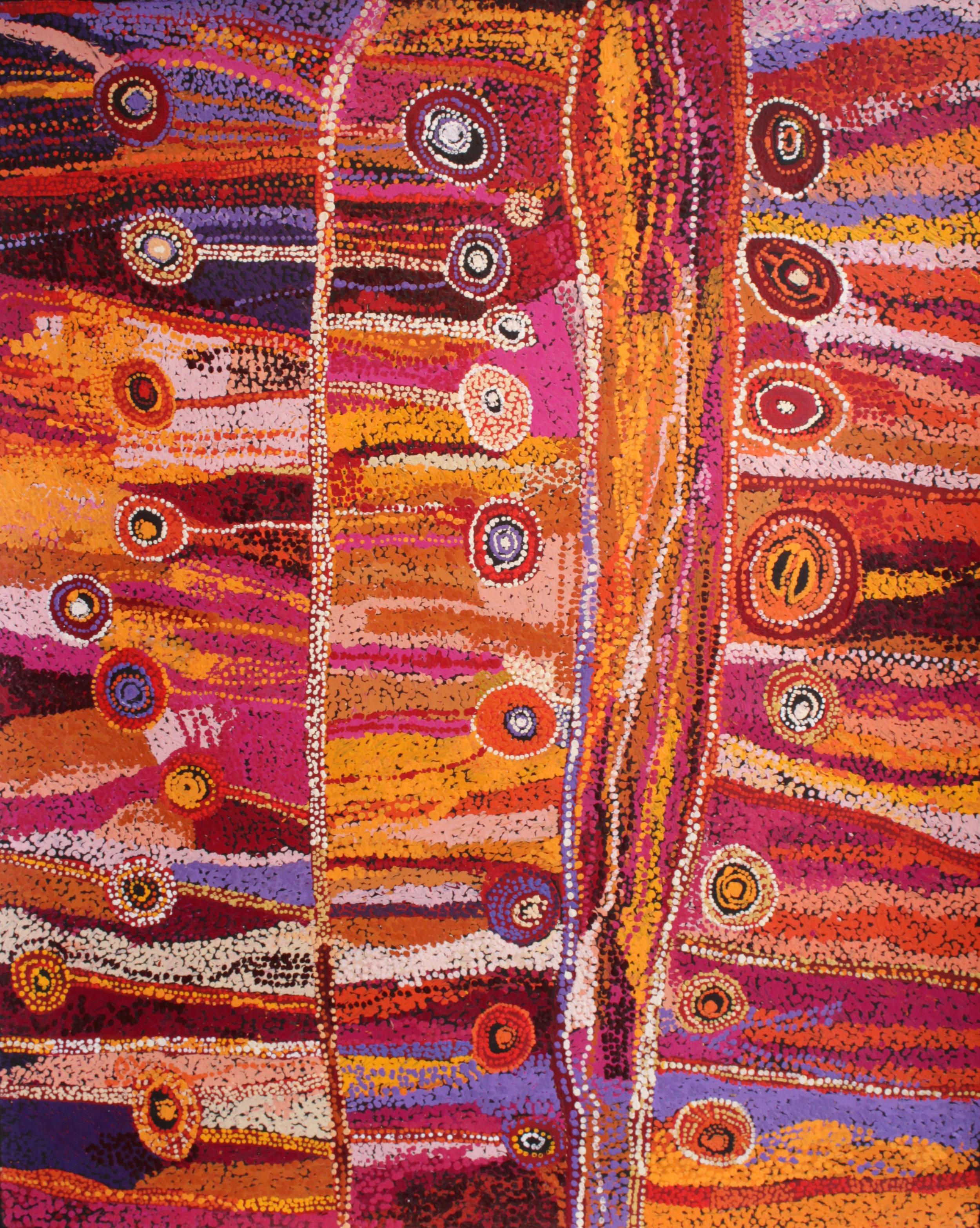 "Wawiriya Burton  Ngayuku Ngura - My Country  60"" x 48"" (152 x 122 cm) Tjala Arts Catalog #454-16   EMAIL INQUIRY"