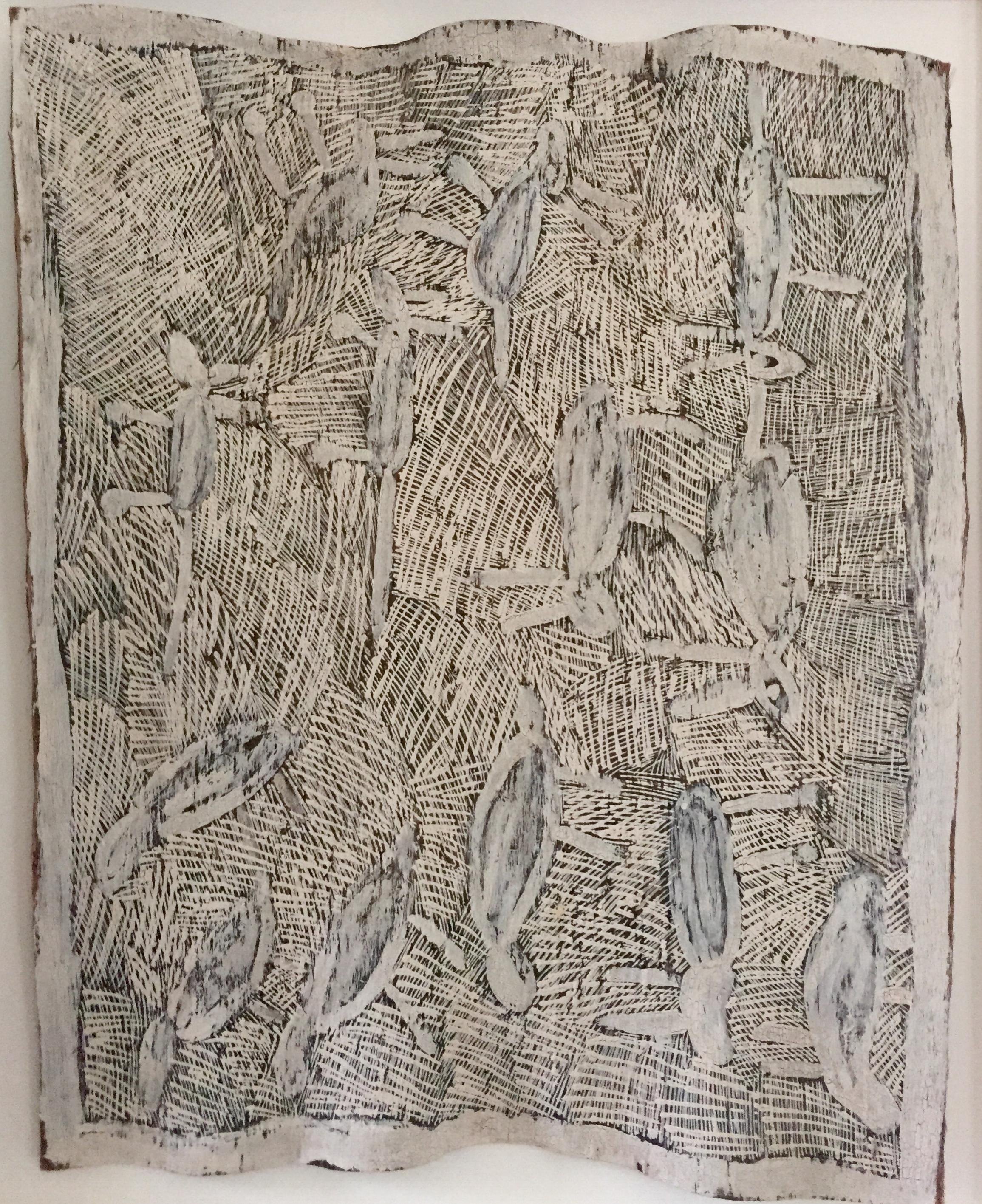 "Nyapanyapa Yunupingu Untitled Natural earth pigments on bark 38 x 39"" (101 x 104cm)   SOLD"