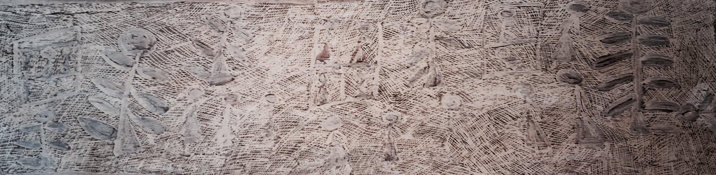 "Nyapanyapa Yunupingu Untitled Natural earth pigments on bark 54"" x 32"" (41 x 157cm) Catalog #4517S   EMAIL INQUIRY"