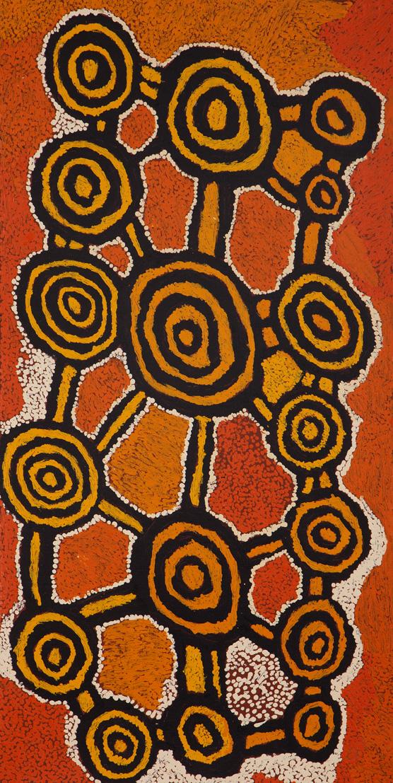 Johnny Yungut Tjupurrula Untitled Acrylic on canvas 46 x 91 cm Papunya Tula Arts Catalog #1207003   EMAIL INQUIRY