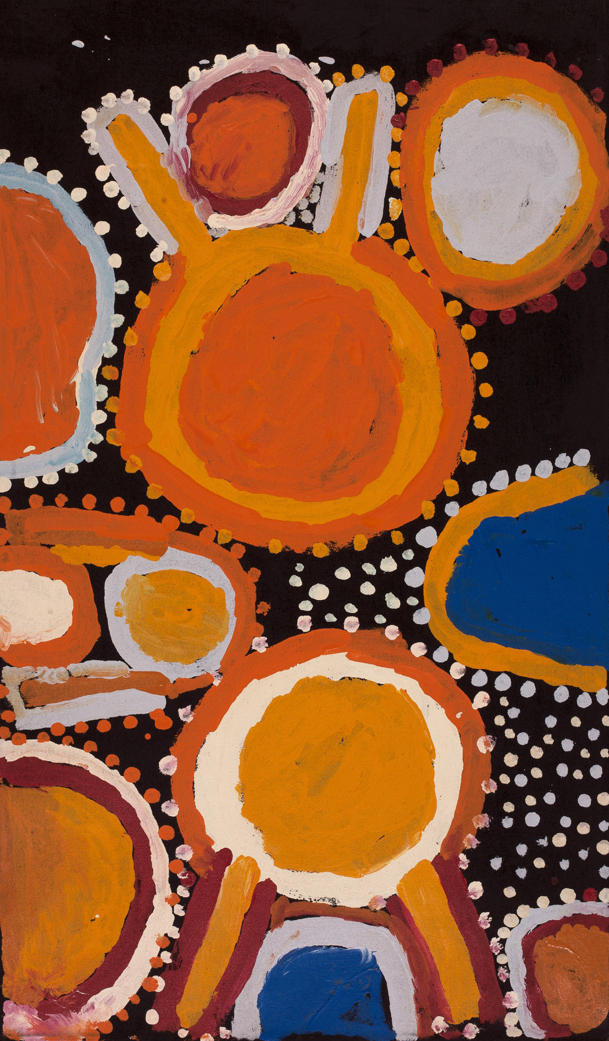 """Sandy Brumby  Victory Downs  Acrylic on canvas 42"""" x 24"""" (107 x 61 cm) Ninuku Arts Catalog #11543   EMAIL INQUIRY"""
