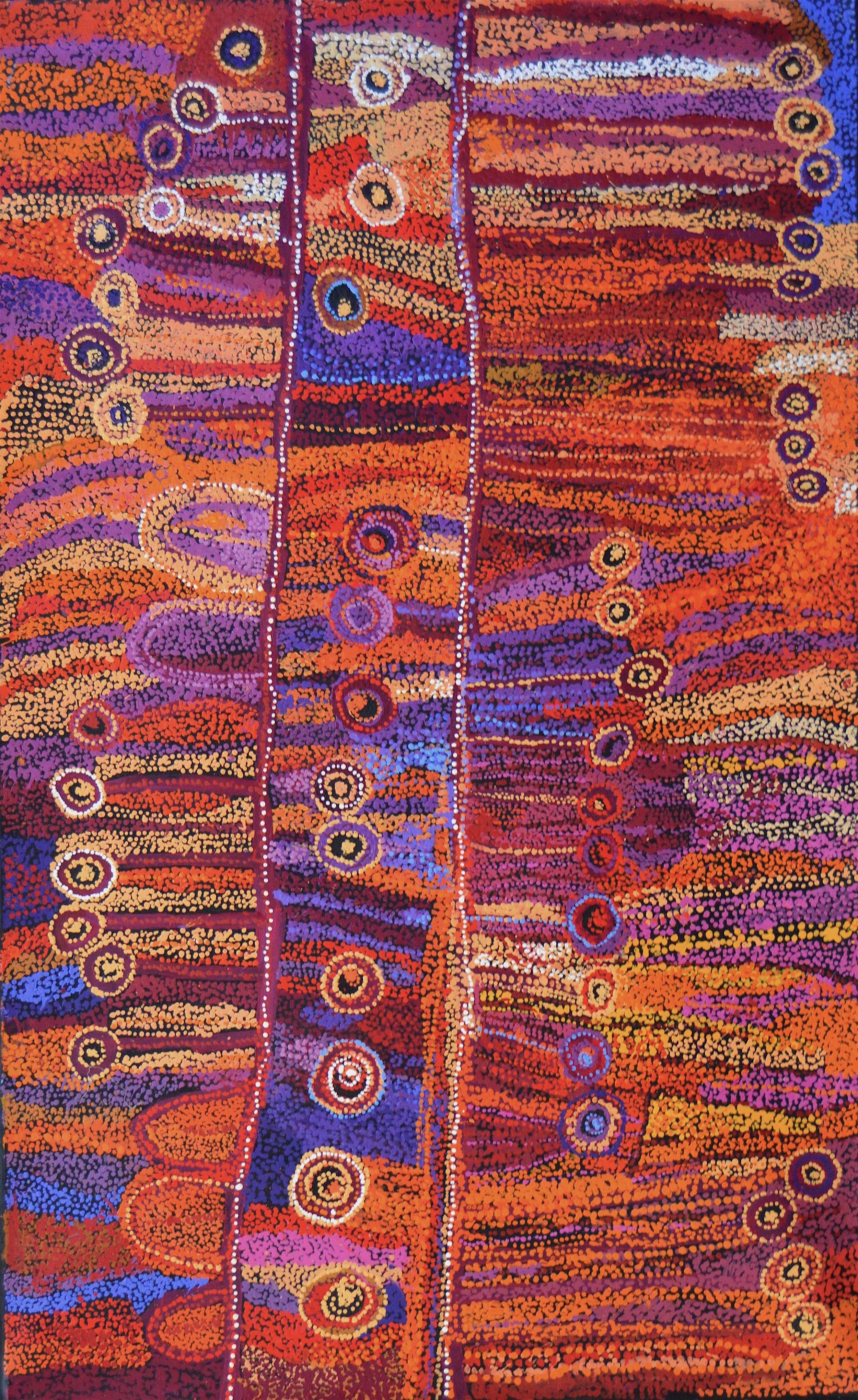 "Wawiriya Burton  Ngayuku ngura- My Country  Acrylic on Belgian linen 1525 x 1980 mm (60 x 78"") Tjala Arts Catalog #485-15   EMAIL INQUIRY"