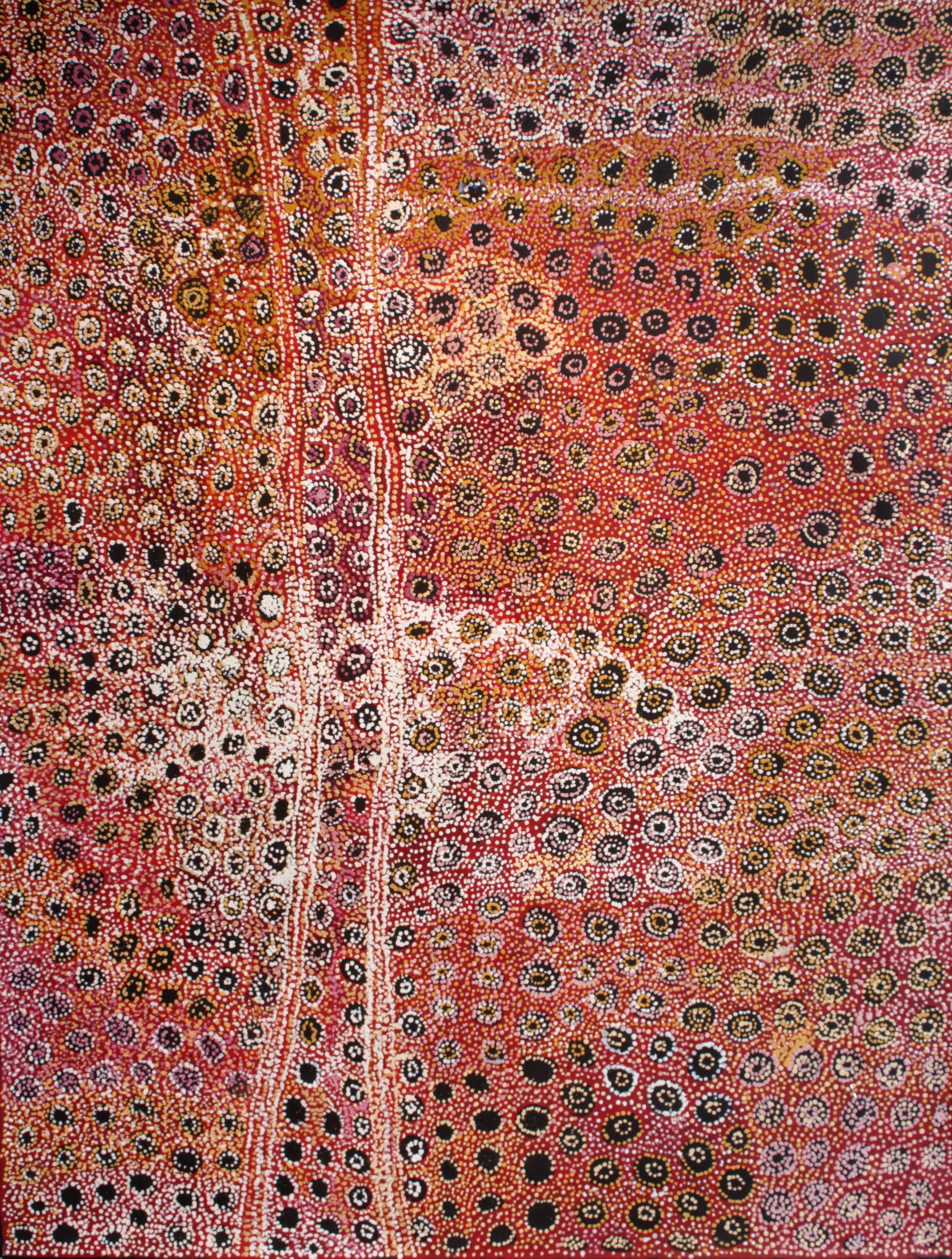 "Mona Mitakiki Shepherd  Kapi Tjukula Tjuta - Many Rock Holes  Acrylic on Belgian linen 78"" x 60"" (198 x 153 cm) Tjala Arts Catalog #831-16   EMAIL INQUIRY"