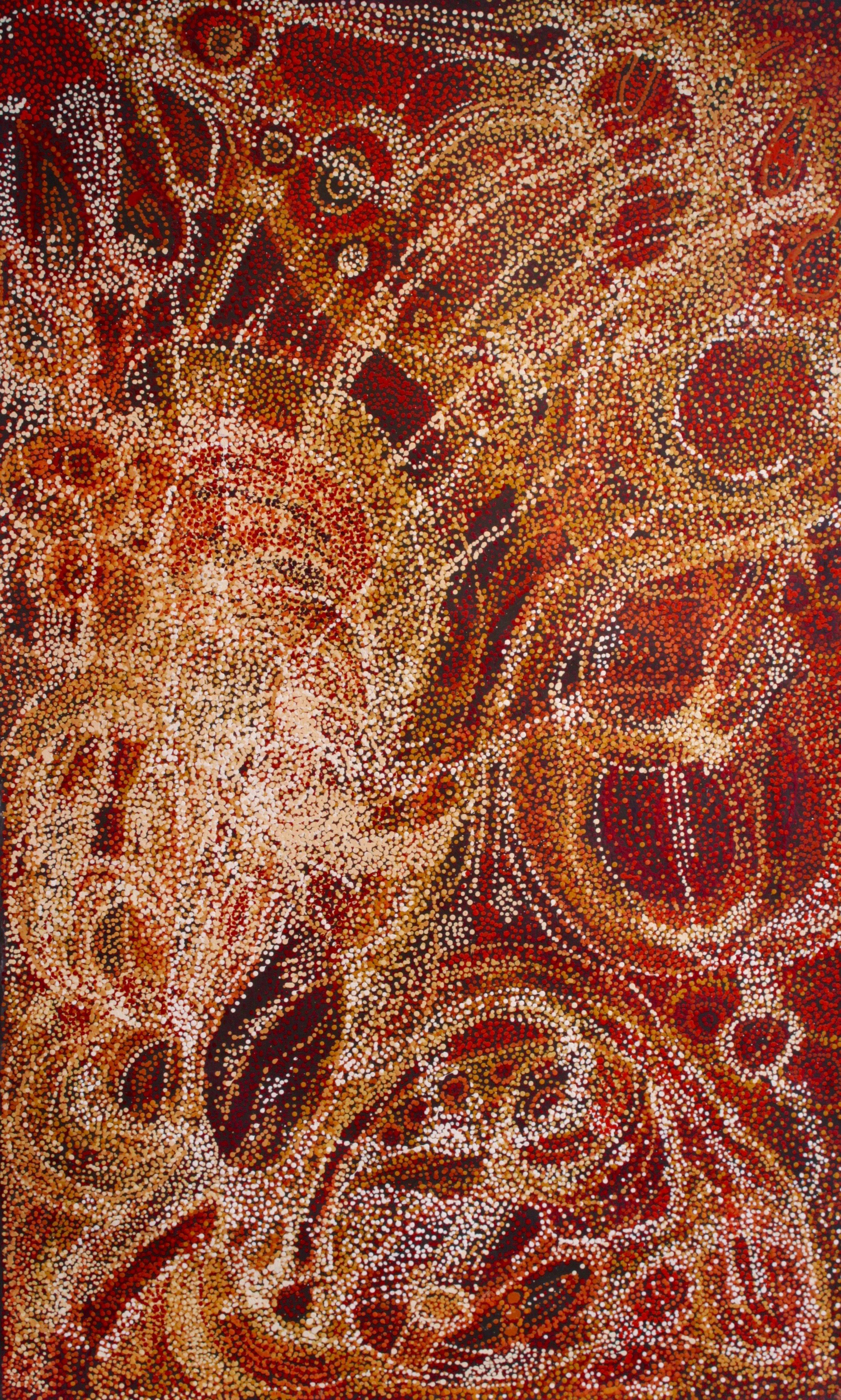 "Nyunmiti Burton  Ngayuku Ngura - My Country  Acrylic on Belgian linen 1220 x 1980mm (48 x 78"") Tjala Arts Catalog #829-16   EMAIL INQUIRY"