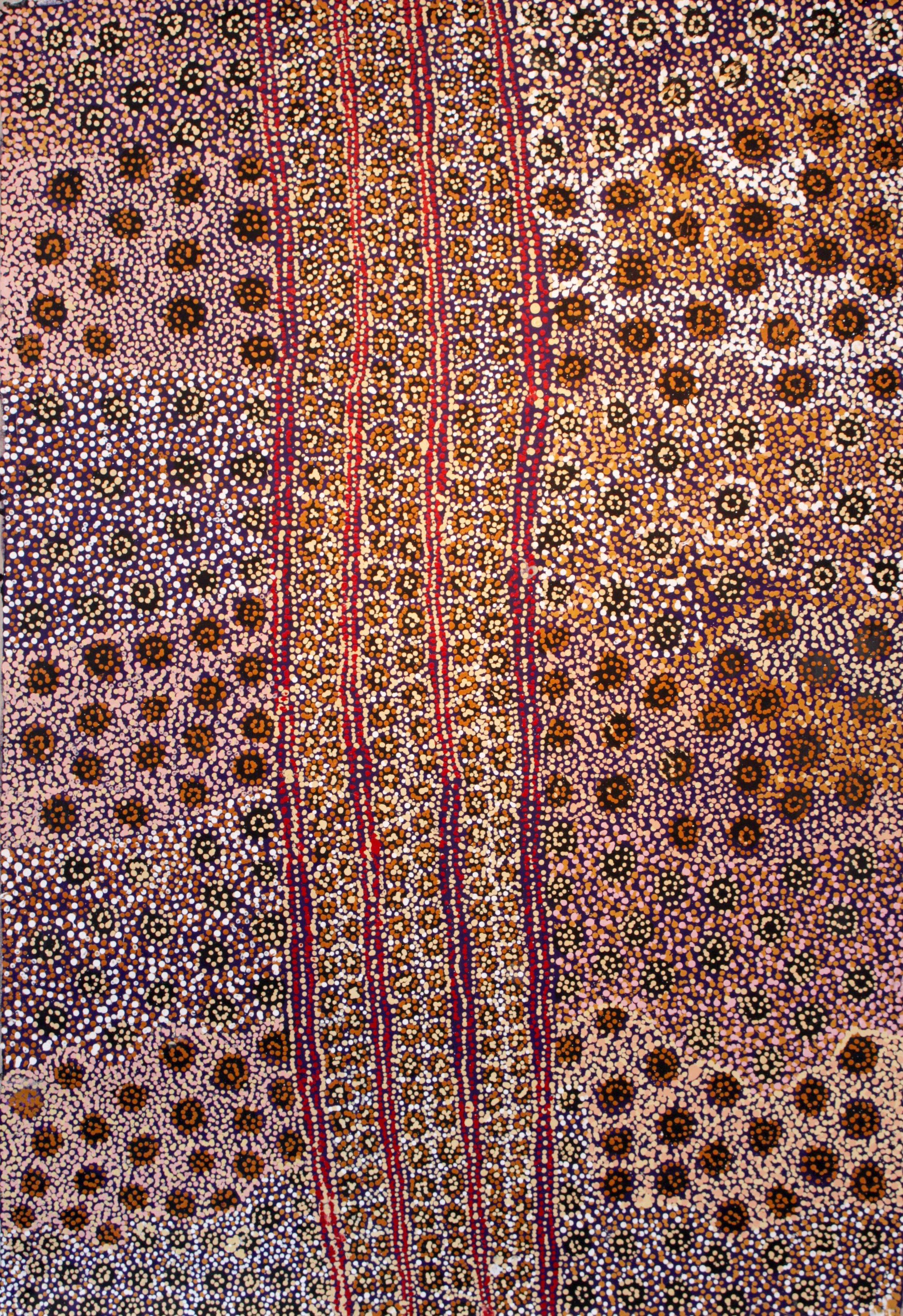 "Tjampayi Presley  Seven Sisters  Acrylic on Belgian linen 1525 x 1015 mm (60 x 40"") Tjala Arts Catalog #37-17   EMAIL INQUIRY"